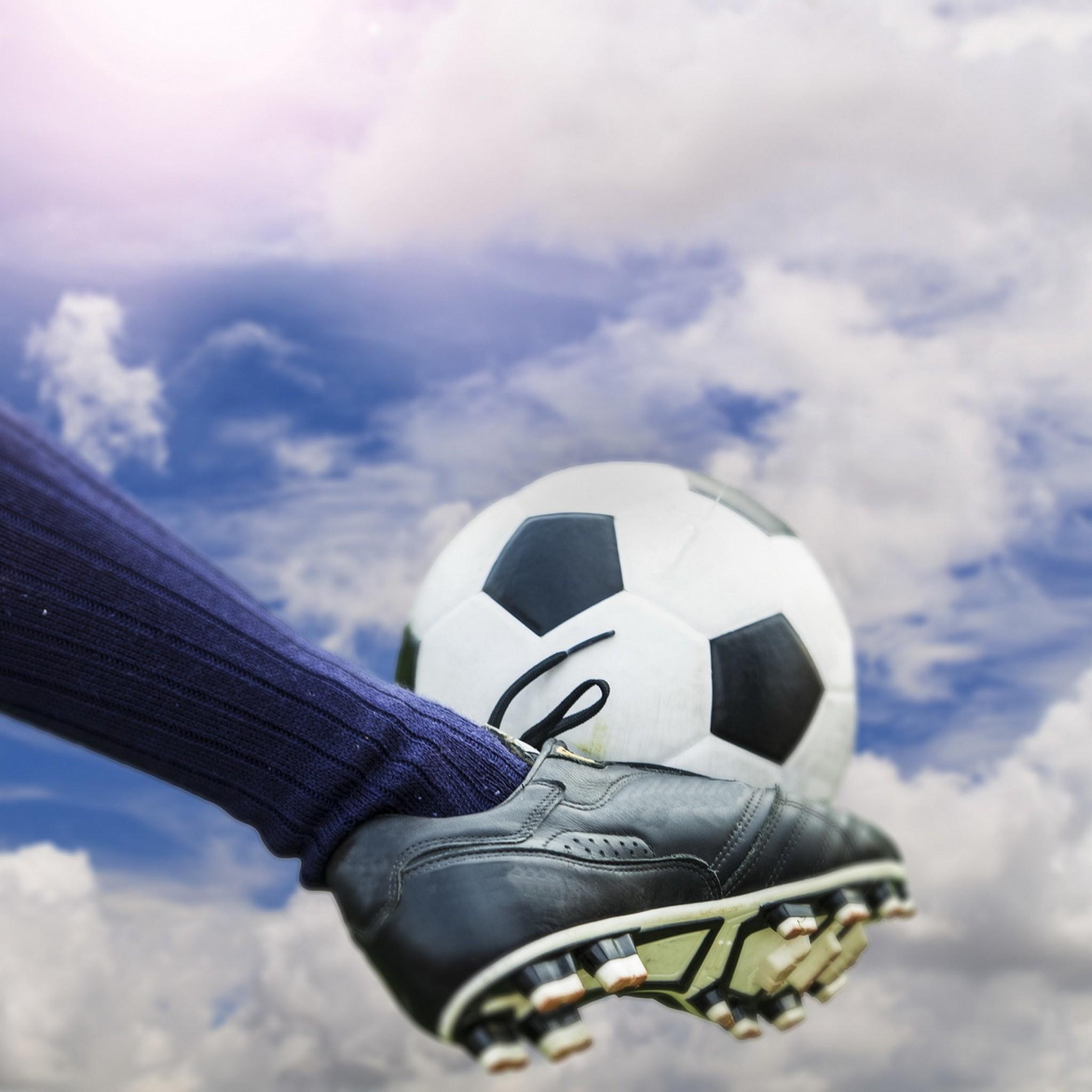Preview wallpaper football, ball, football boots, stockings 2048×2048