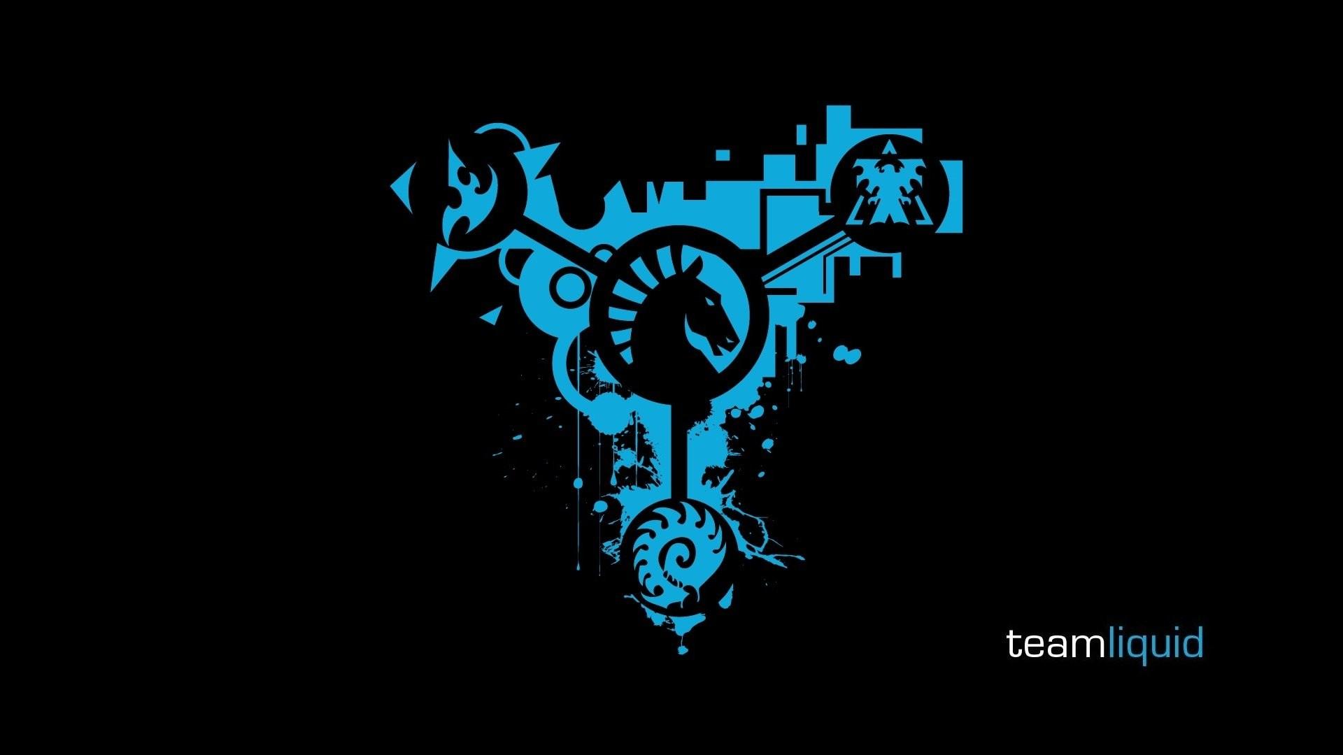 Logos Team Liquid StarCraft II black background wallpaper .