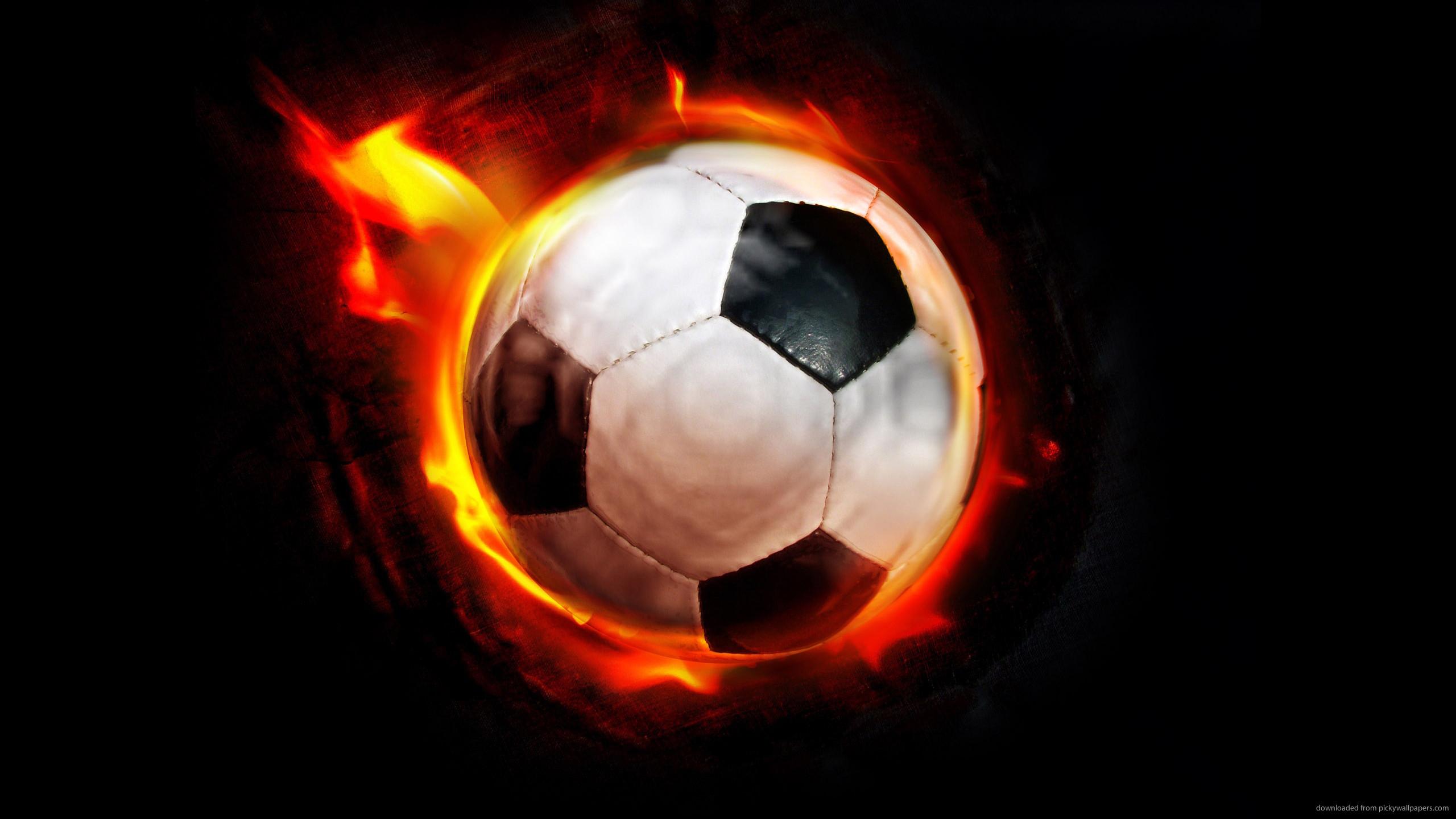 Burning Soccer Ball for 2560×1440