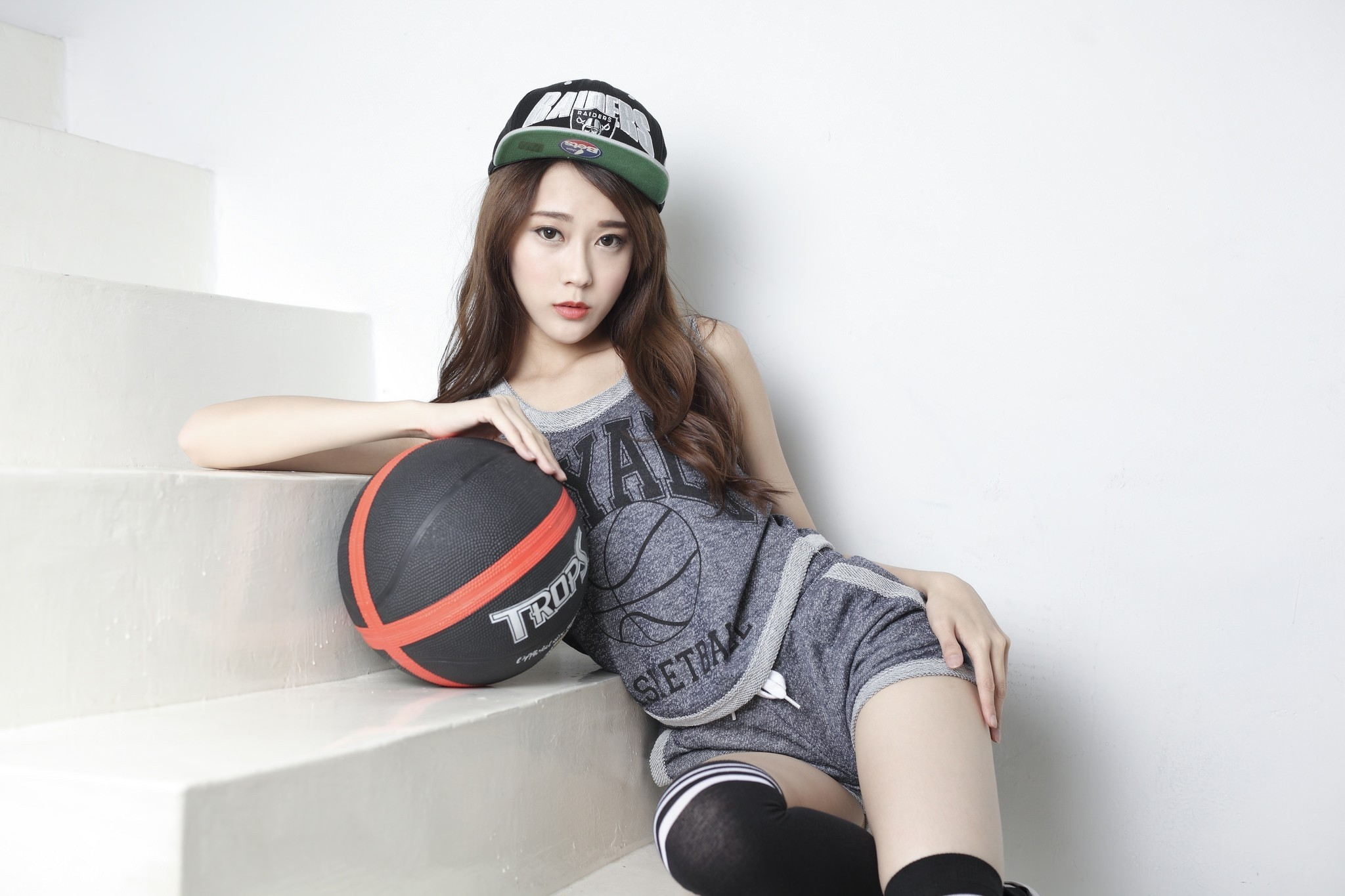 Asian Model, Women, Stairs, Basketball, Hat, Cute