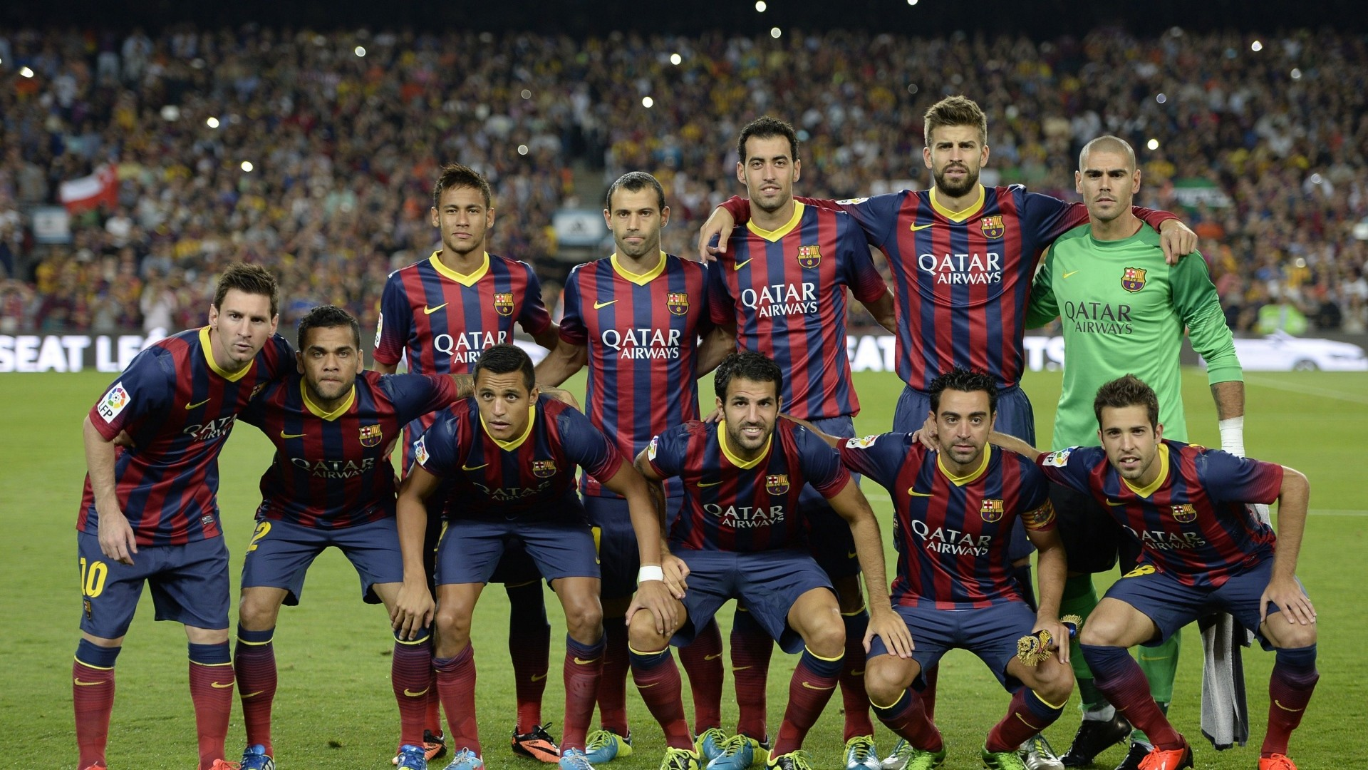 Preview wallpaper barcelona, club barcelona, composition, victor valdes,  daniel alves