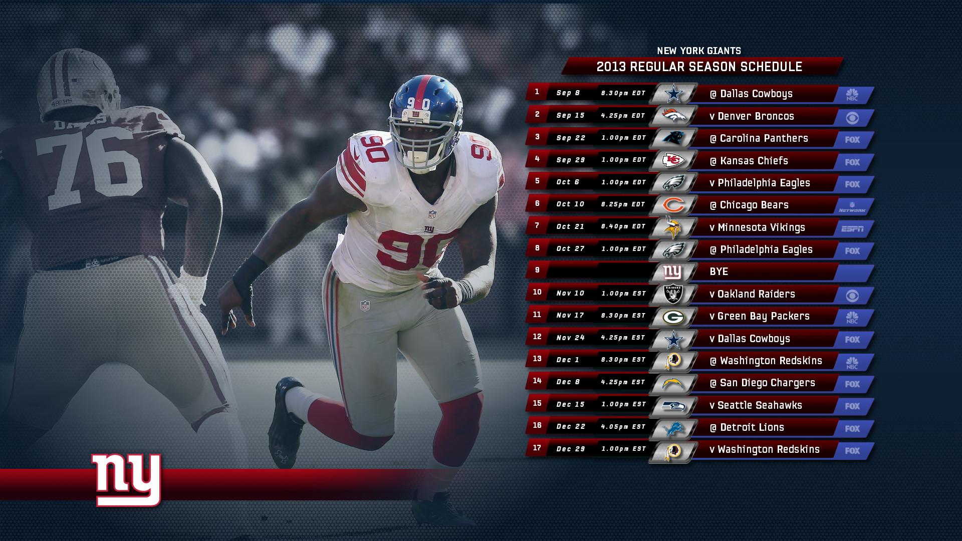 2013 Giants Schedule Wallpapers [Archive] – New York Giants Fan Forum