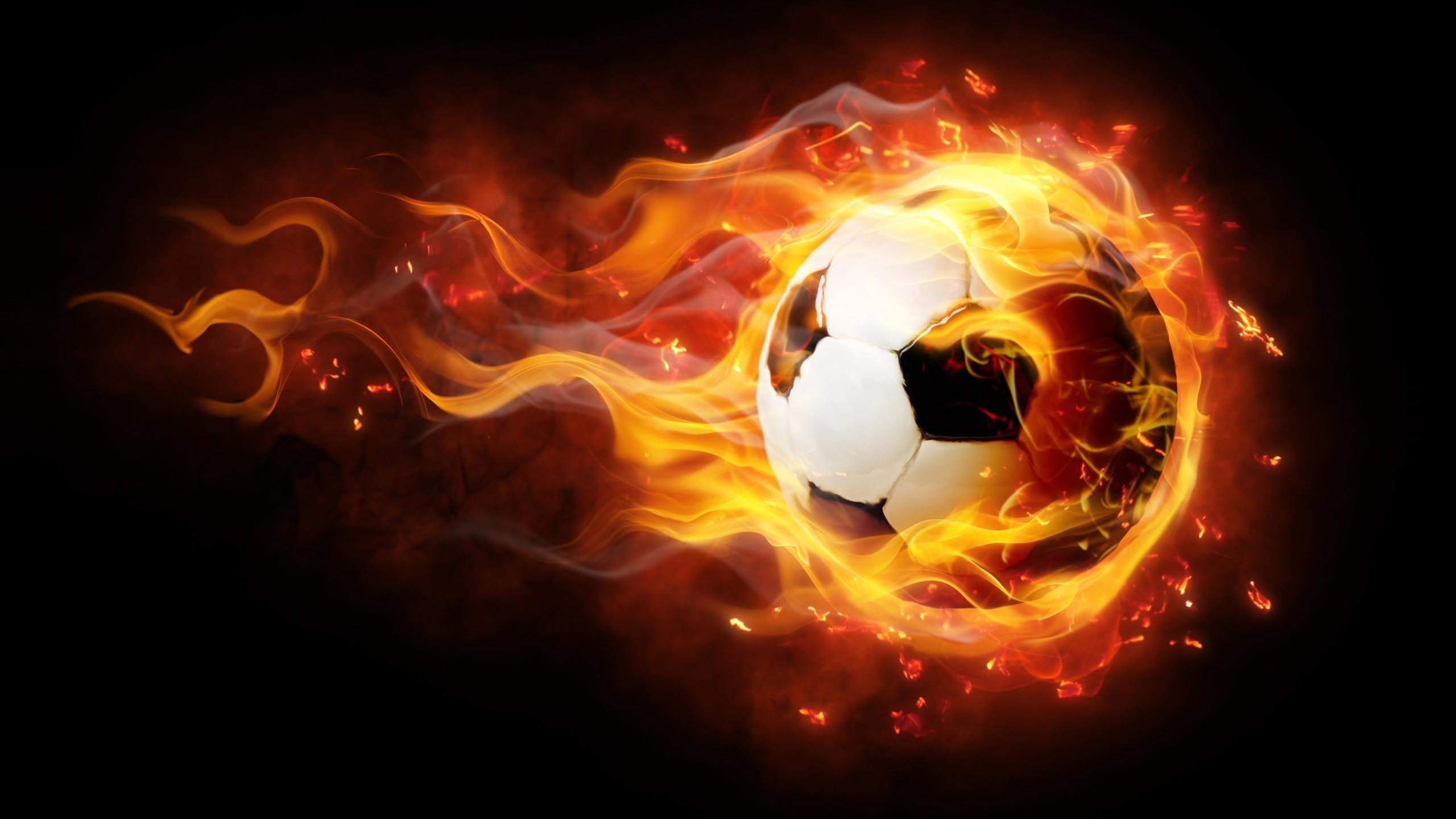 Soccer Fire Ball Desktop Background wallpaper