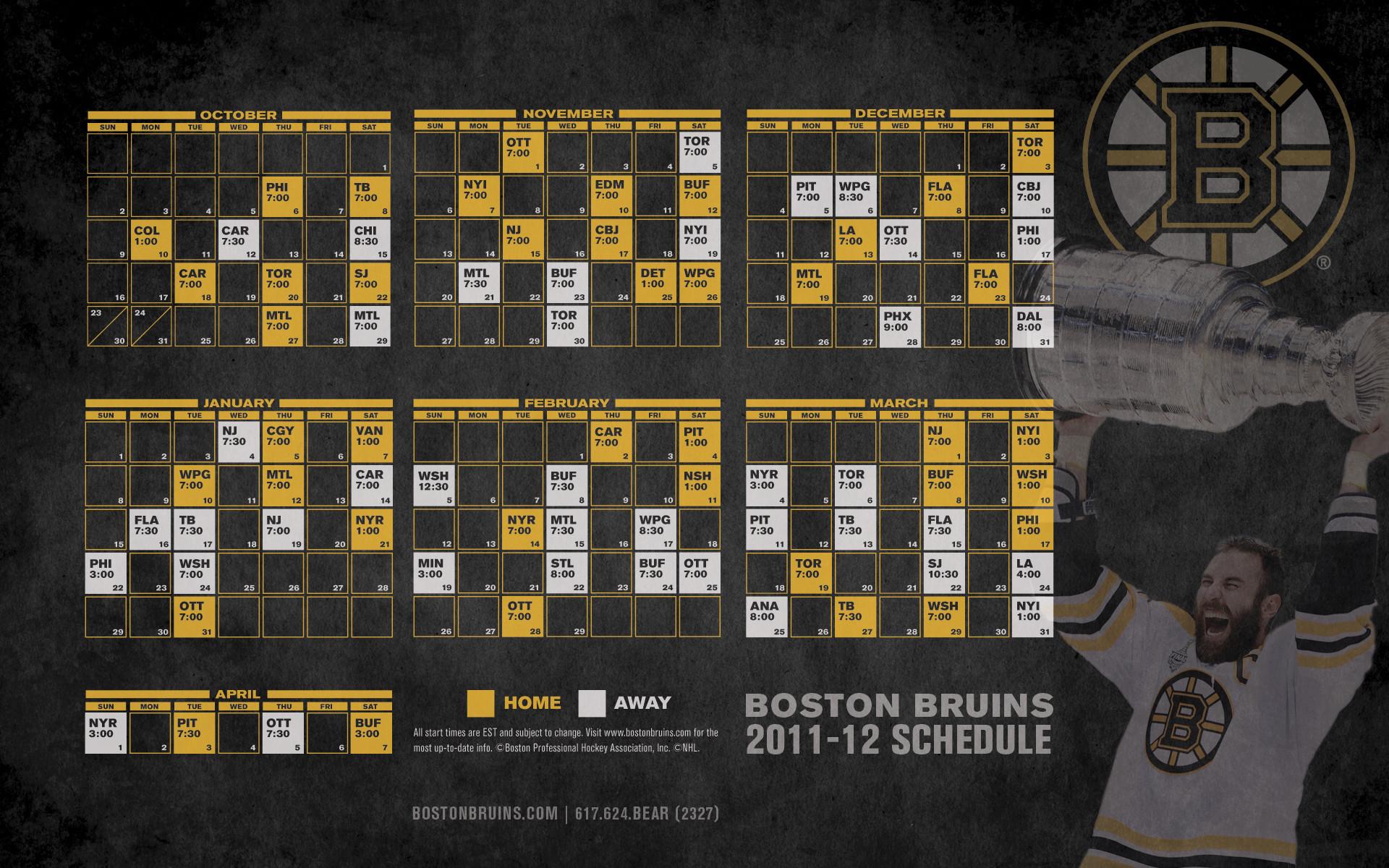 Bruins 2011-12 Schedule – Boston Bruins Wallpaper (27313603) – Fanpop
