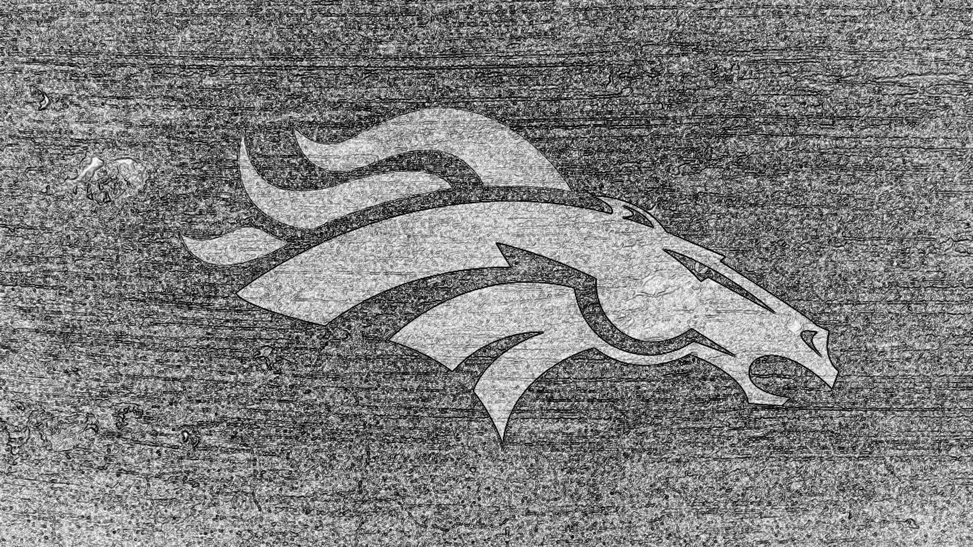 Denver Broncos Logo Sketch Bw On Concrete