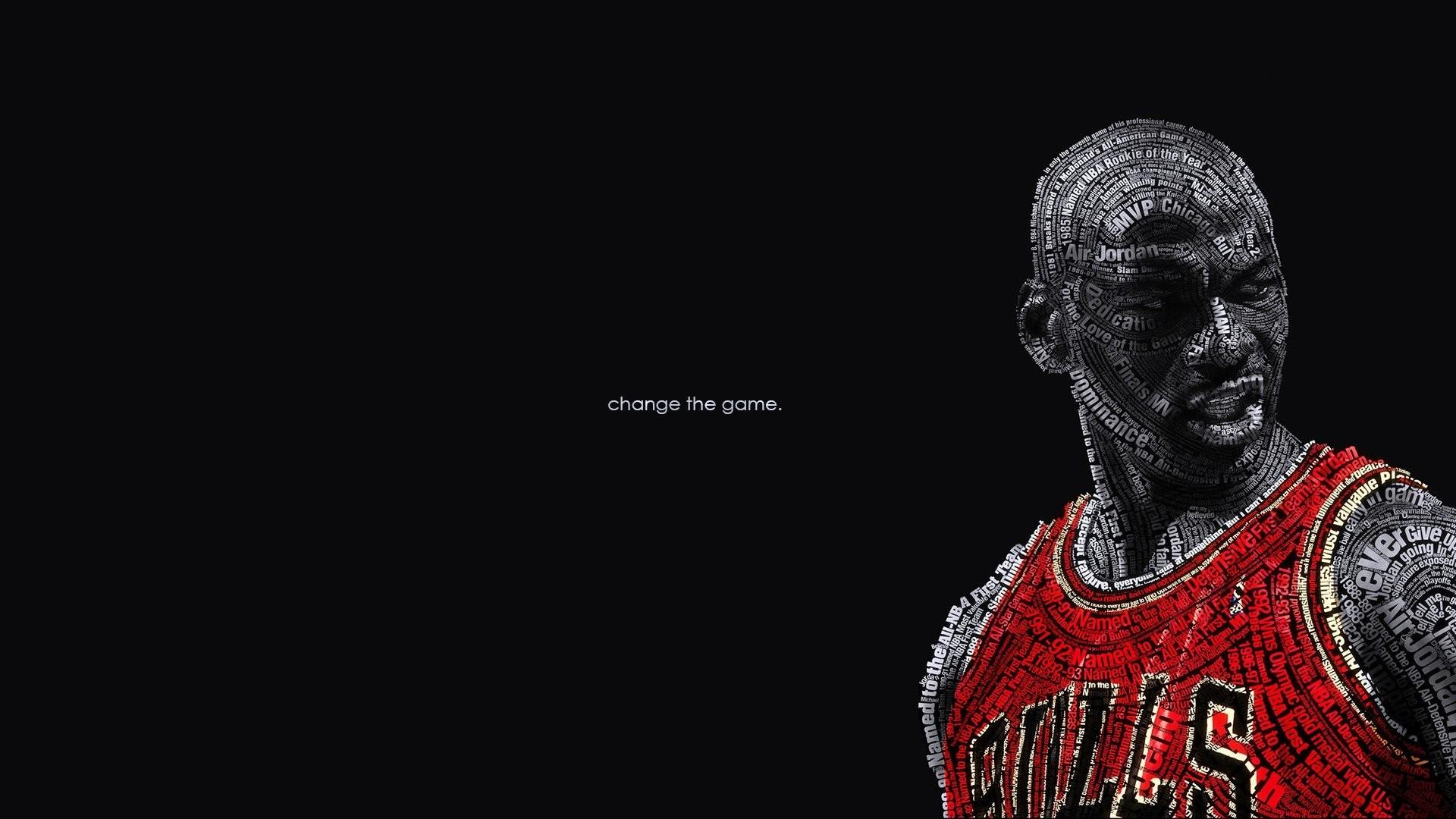 Basketball Black Background Change Chicago Bulls Michael Jordan NBA Text  Typography Wall