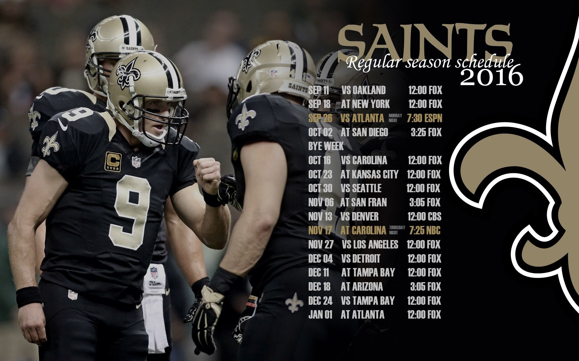 NEW ORLEANS SAINTS 2016 SCHEDULE WALLPAPERS** | TigerDroppings.com