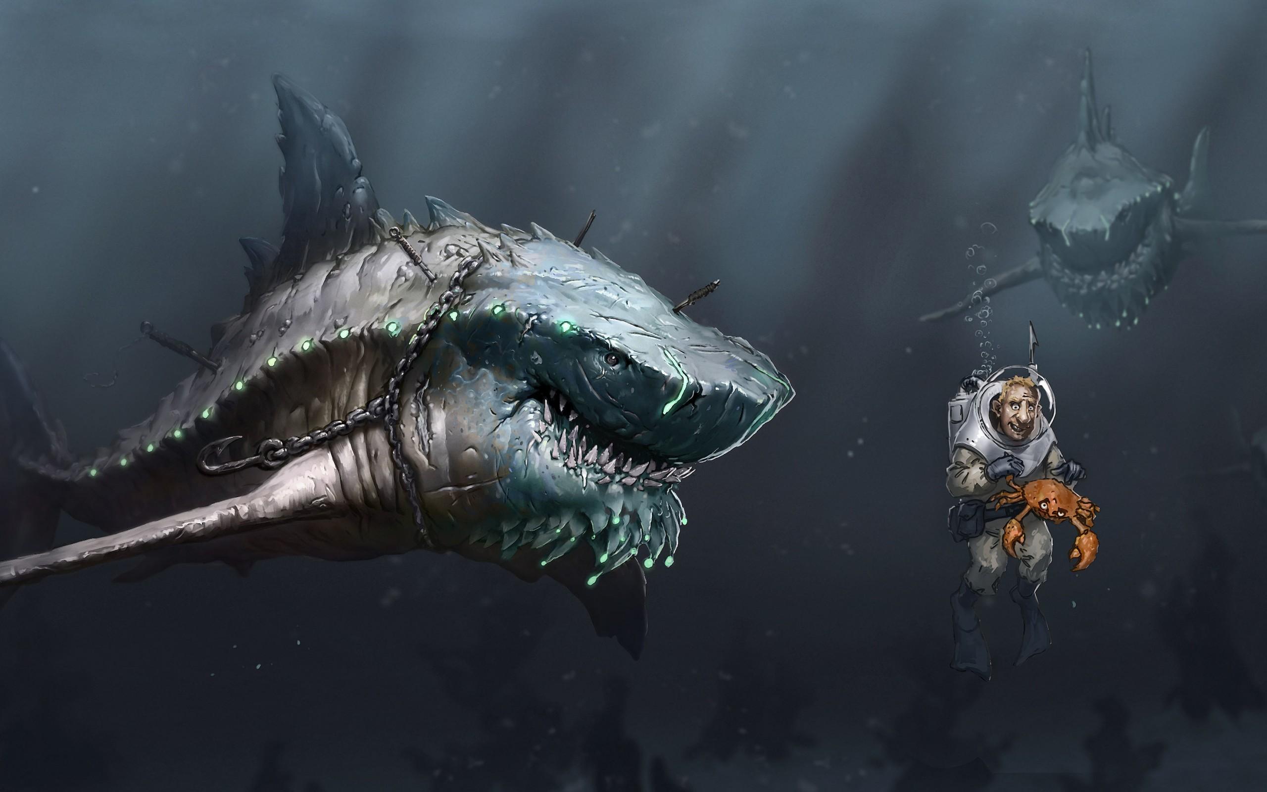 Art sea underwater sharks Megalodon predators starvation people scuba crab  chain hook sci-fi dark
