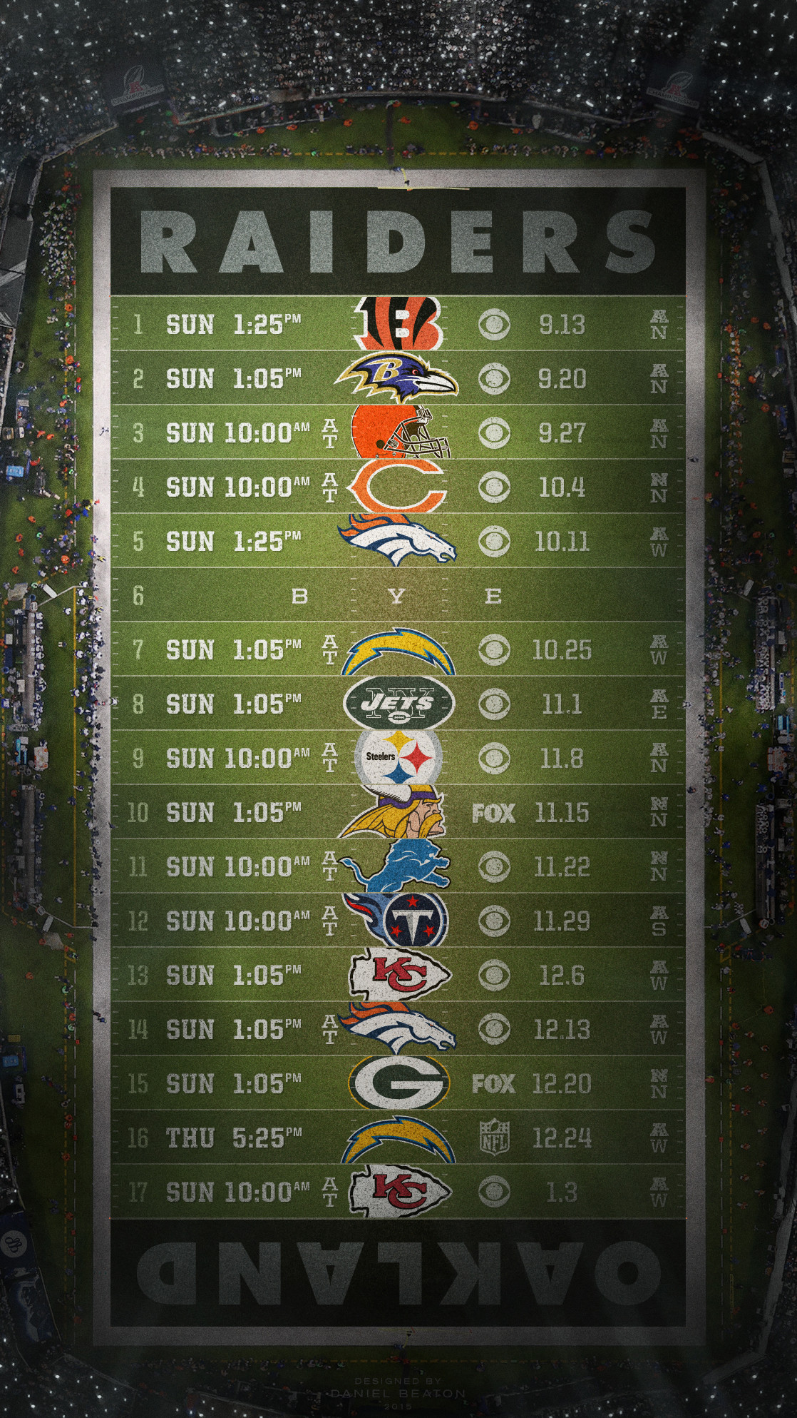 Raiders schedule wallpaper for Android, iOS and Desktop : oaklandraiders