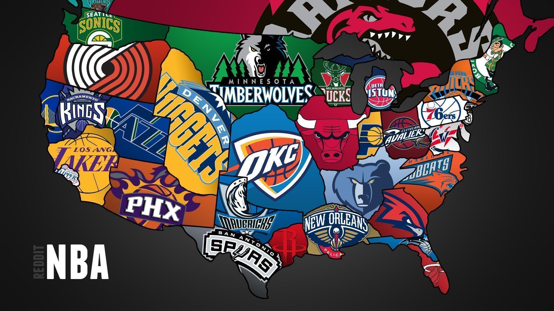Cool map of NBA teams – – Full HD 16/9 – Wallpaper #
