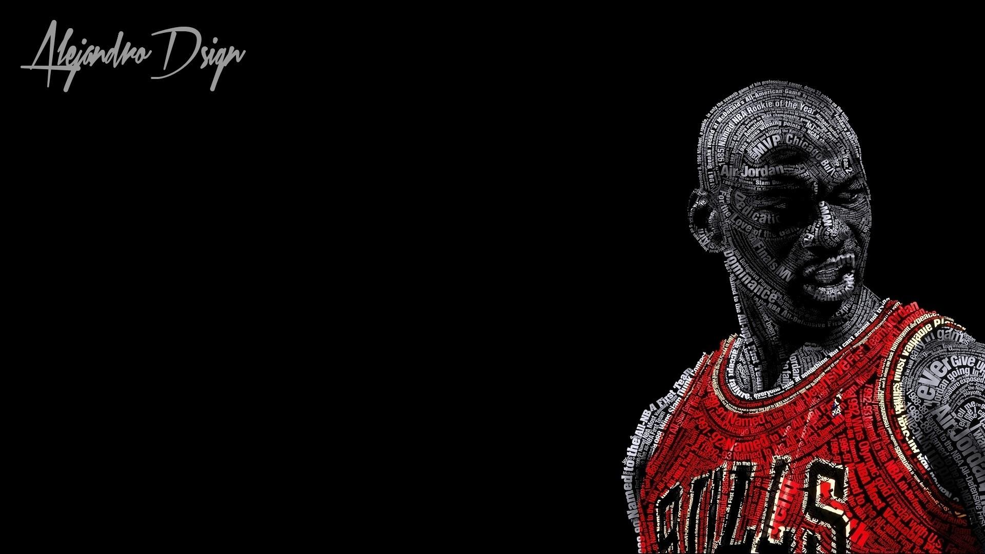 typographic Portraits, Michael Jordan, Basketball, Chicago Bulls, Black  Background Wallpapers HD / Desktop and Mobile Backgrounds