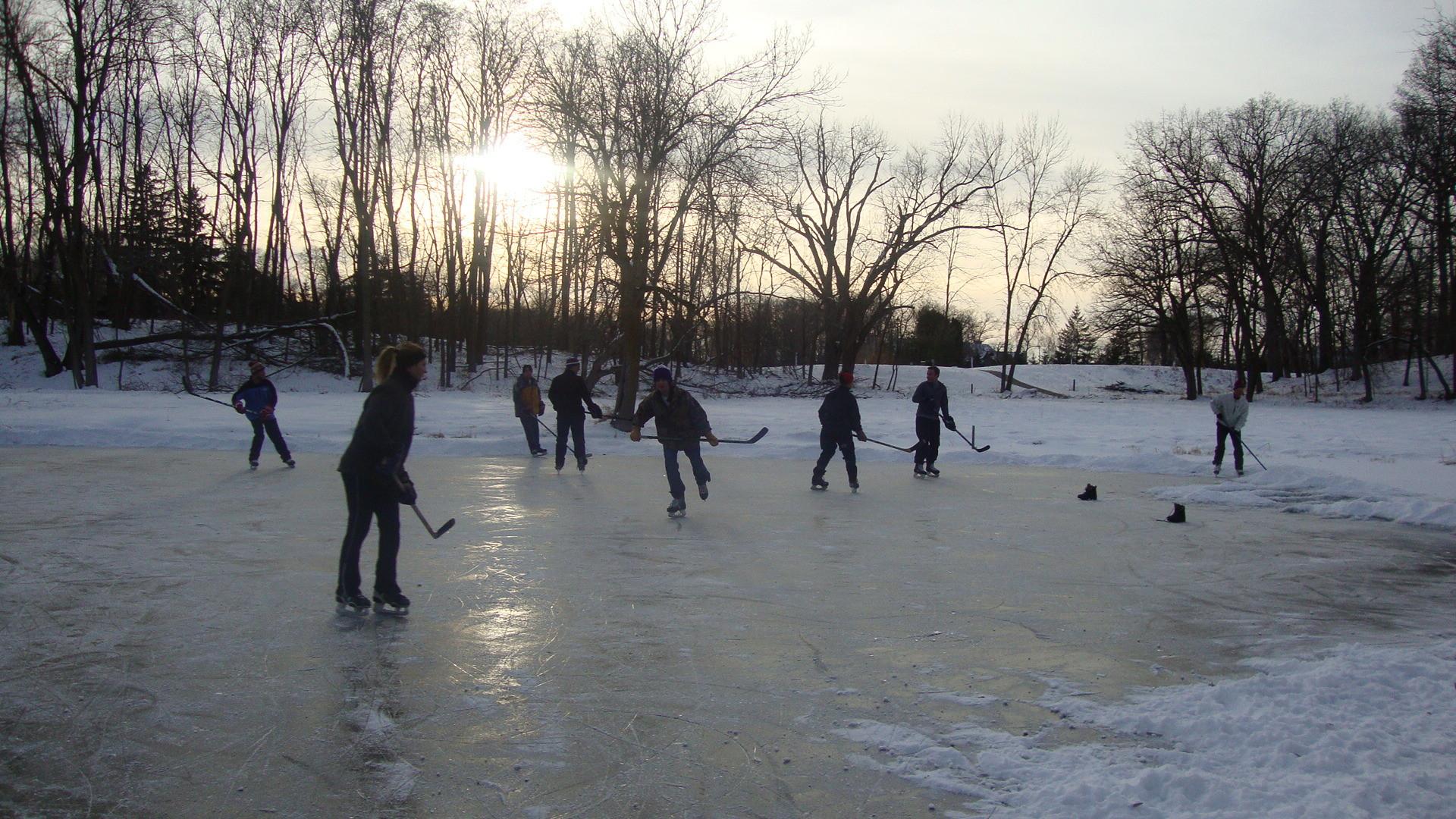 Pond hockey in my backyard