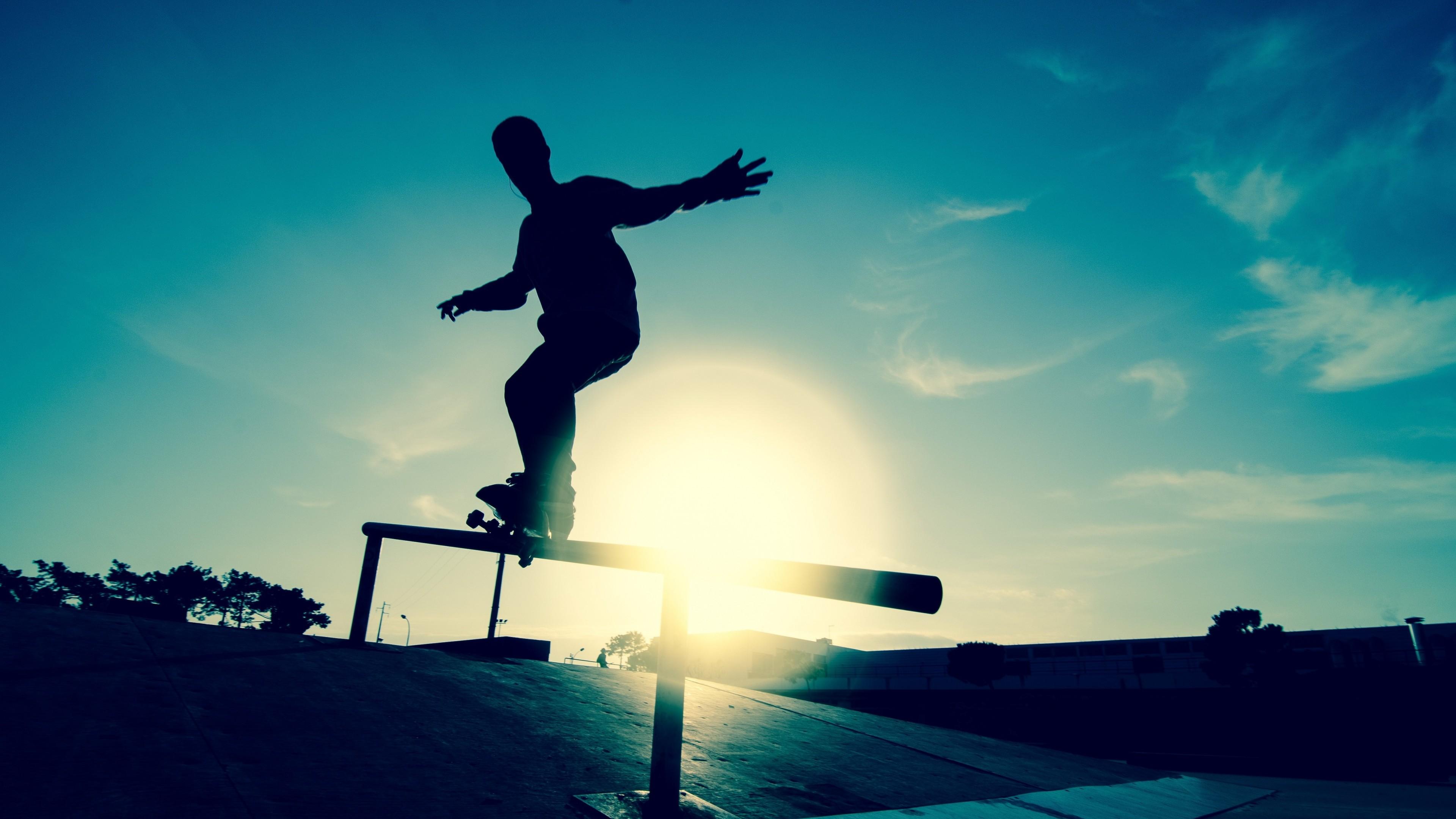 Wallpaper skate, board, athlete, railings, motion, silhouette, ice  rink