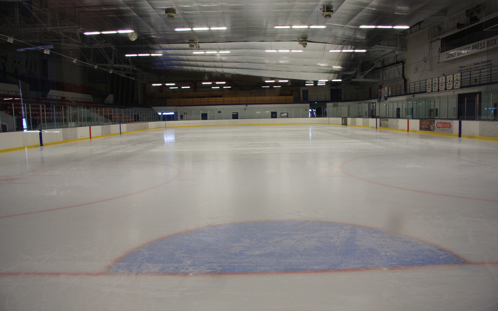 The ice surface and stands at Herbert H. Carnegie Centennial Centre