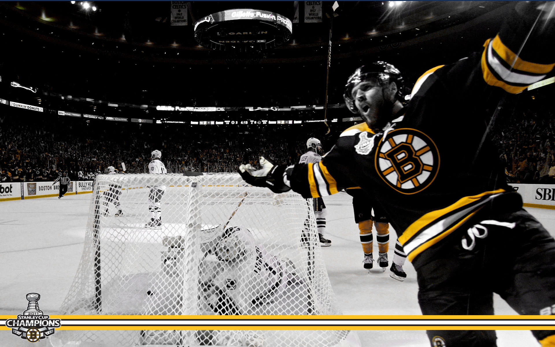 Boston Bruins wallpaper containing an ice hockey and an ice hockey rink  entitled Stanley Cup Champions