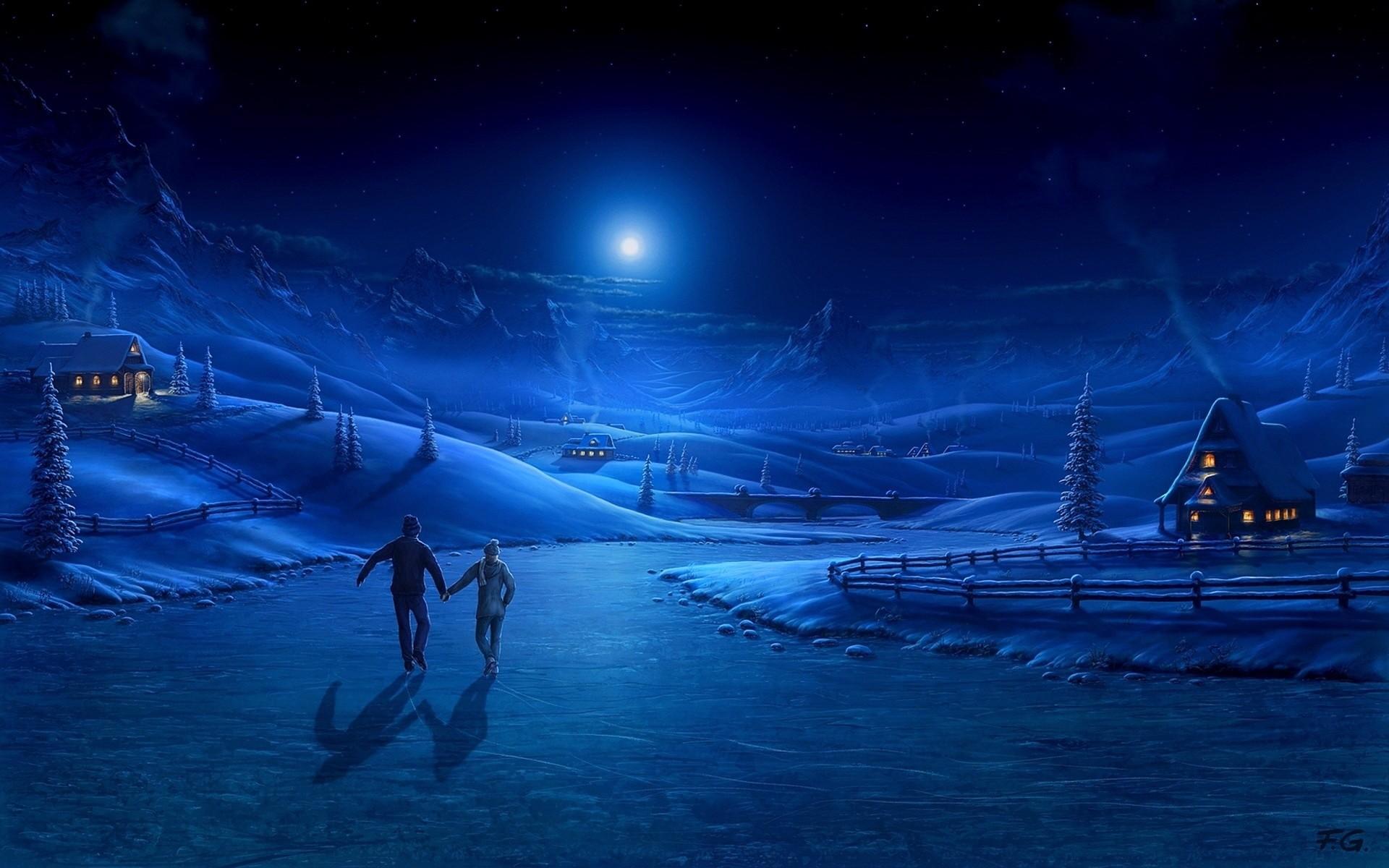 Wallpaper night, ice, pair, light, moon, skating rink, art