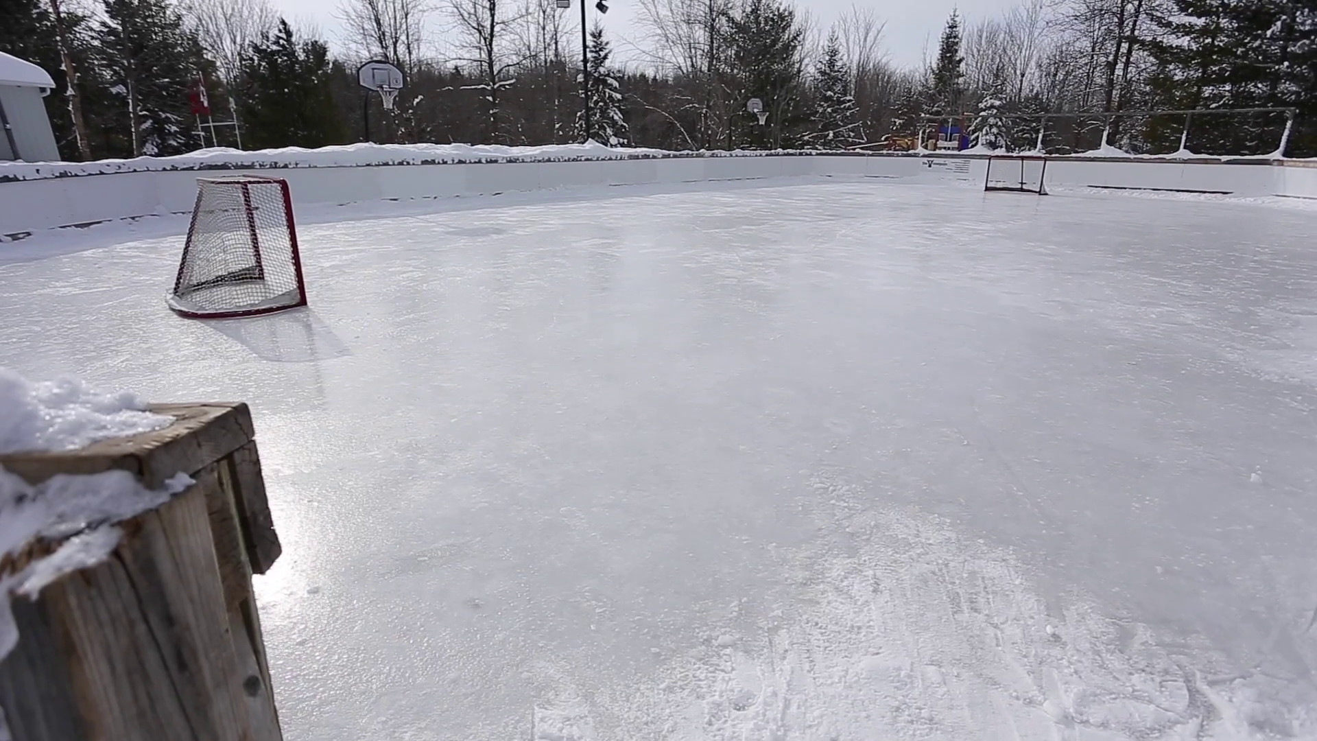 outdoor hockey rink with snowy forest background upward tilt reveal Stock  Video Footage – VideoBlocks
