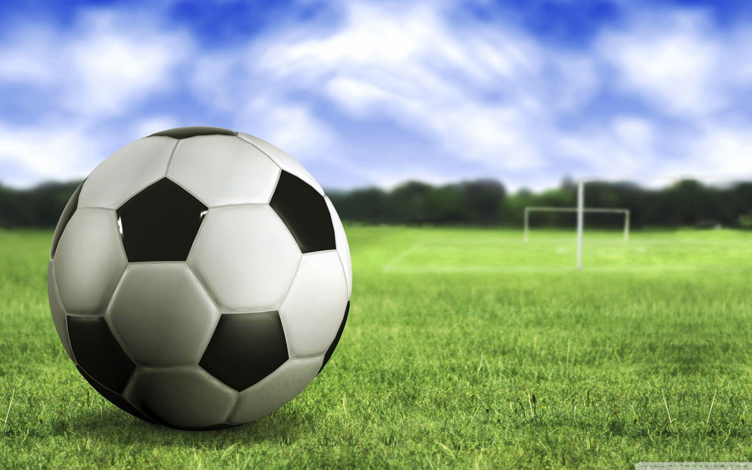 Green grass, Blue sky, Soccer ball, Soccer field wallpapers and .