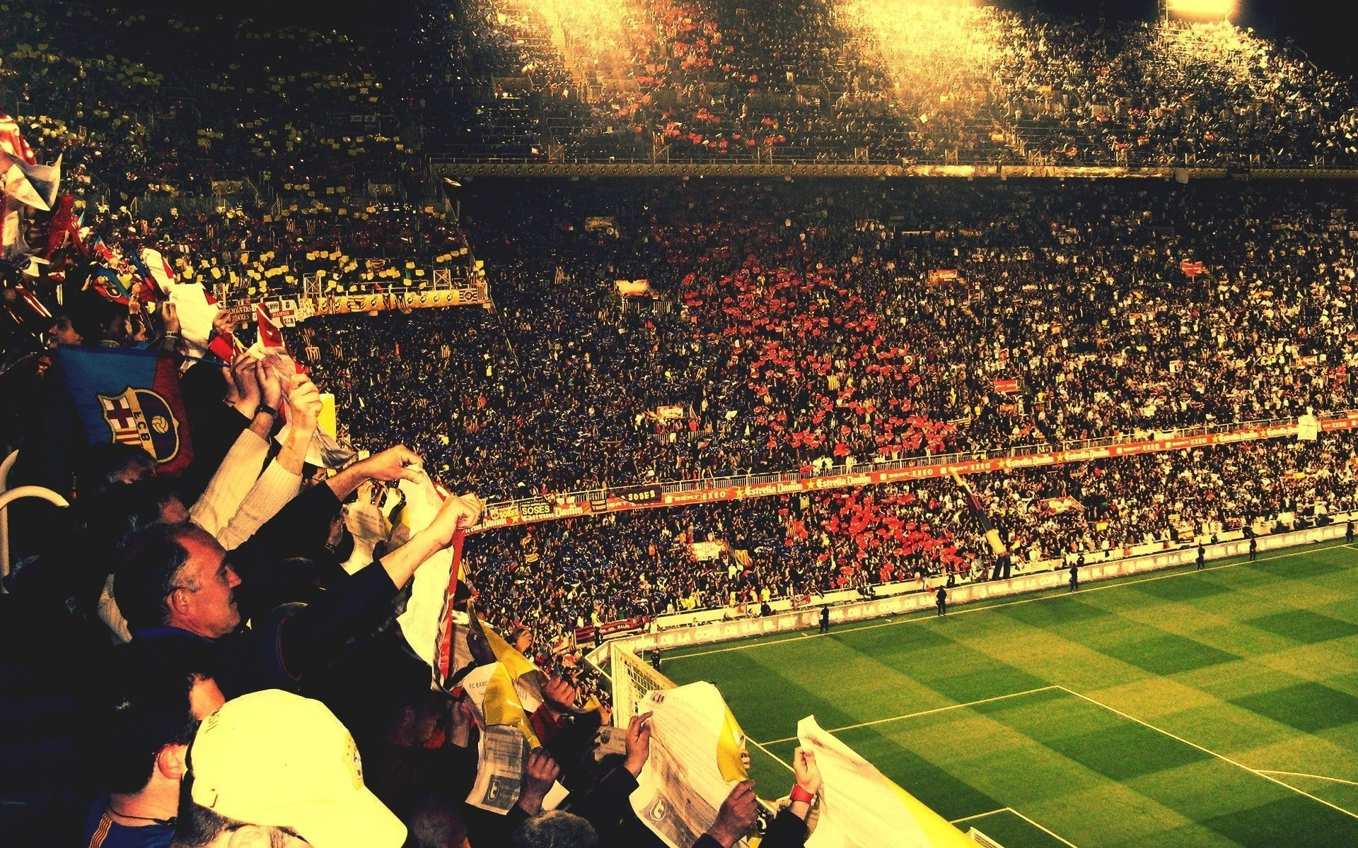 FC Barcelona soccer football crowd stadium people wallpaper .