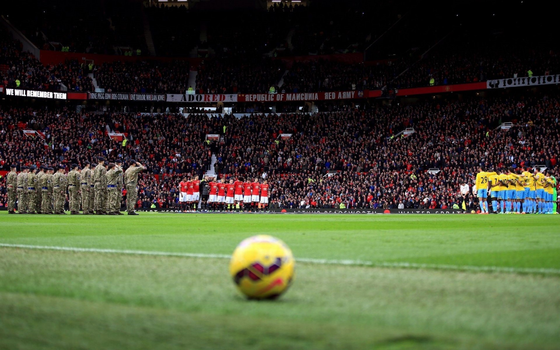 soccer, Soccer Clubs, Manchester United, Soldier, Stadium, Ball,  Footballers, Depth Of Field Wallpapers HD / Desktop and Mobile Backgrounds