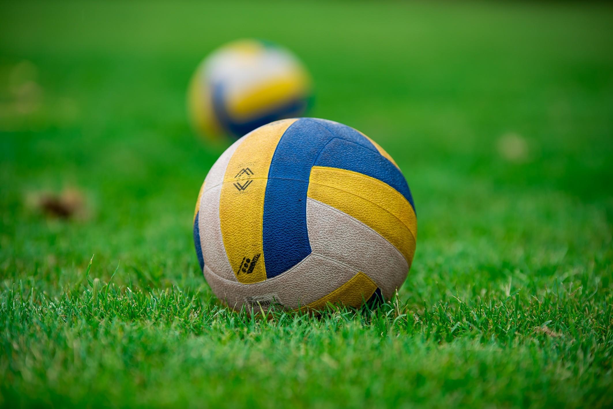 grass plant sport field lawn play equipment soccer yellow football player  sports ball volleyball pallone football