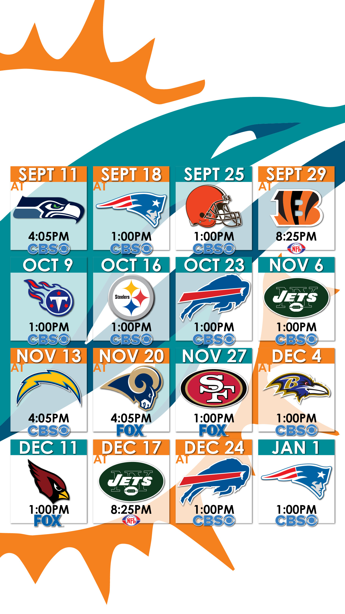Miami Dolphins Schedule Wallpaper for iPhone …