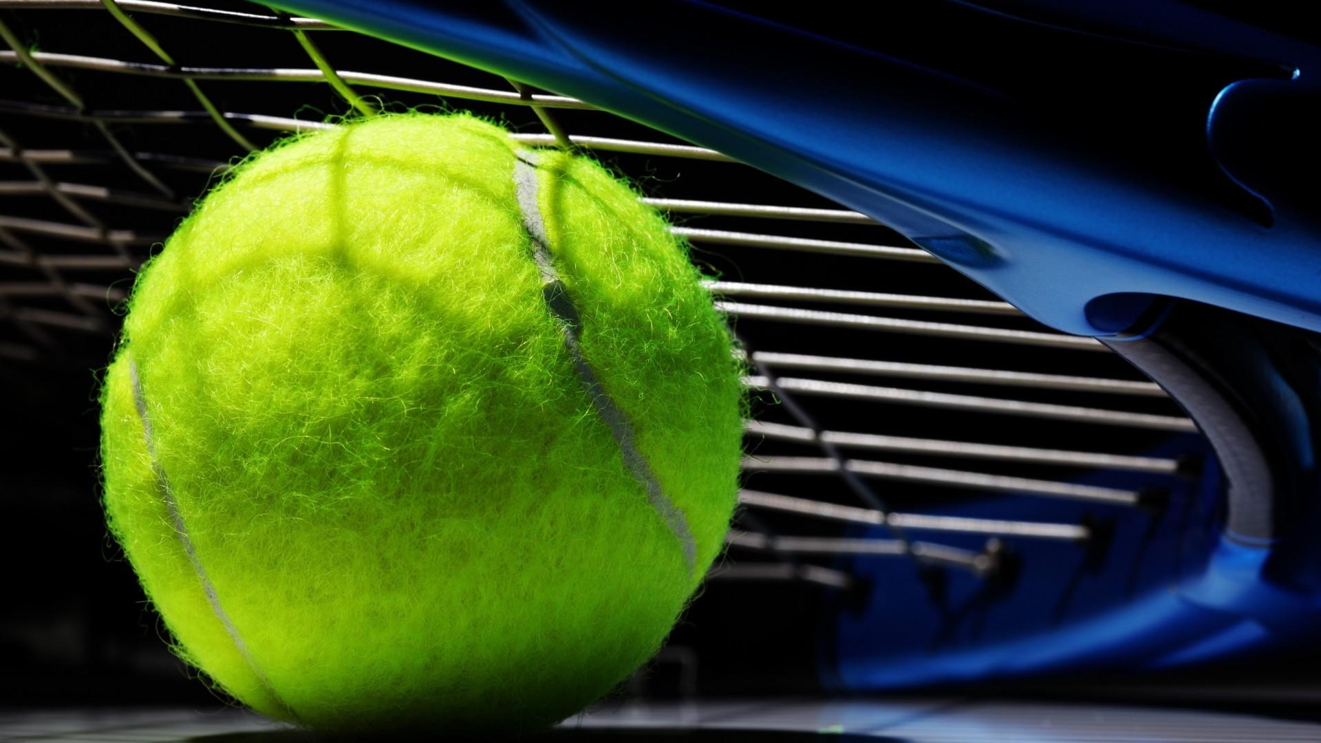 Preview wallpaper tennis, ball, bat, black background 1920×1080