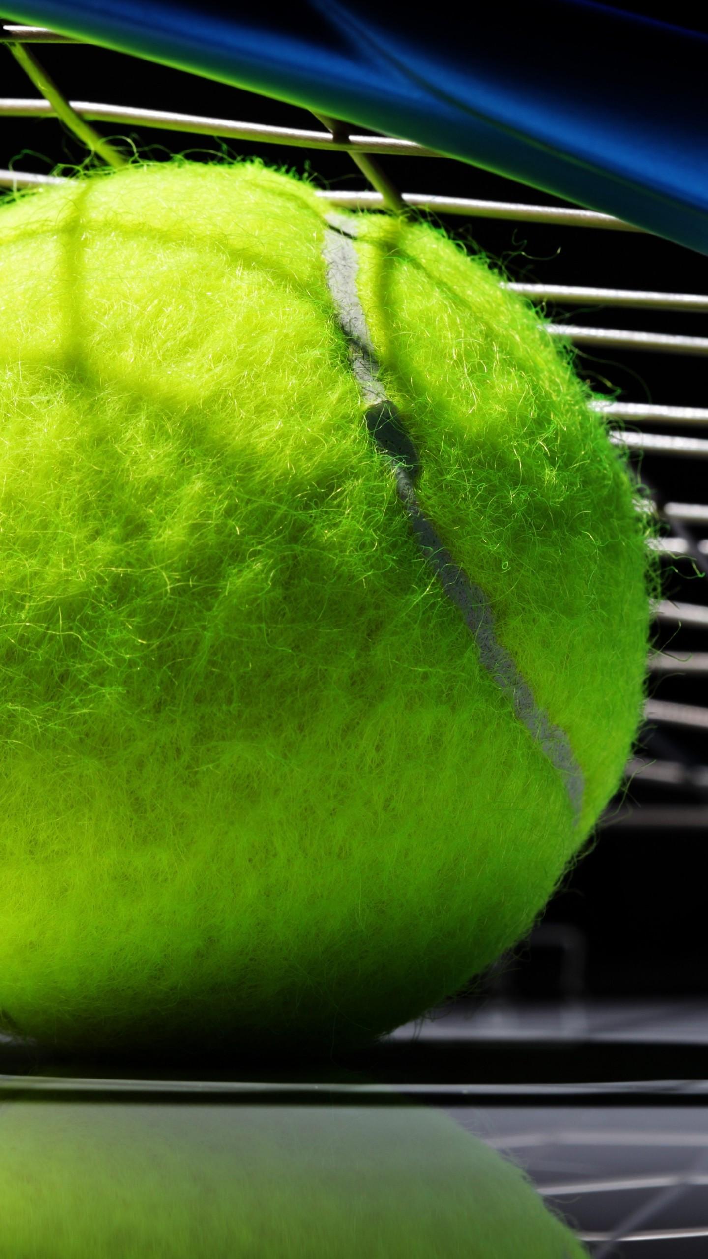 Preview wallpaper tennis, ball, bat, black background 1440×2560