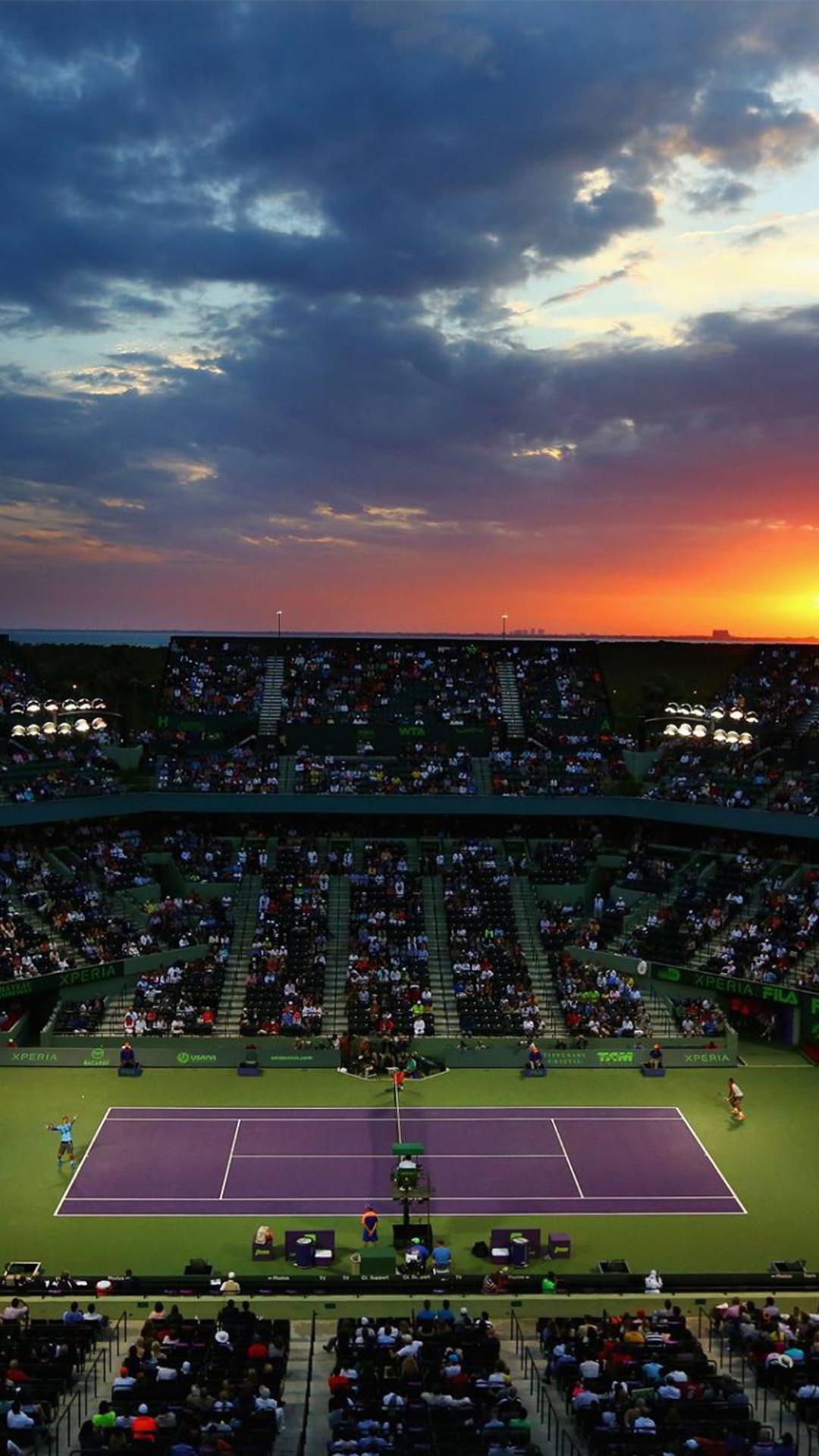 Miami Open Tennis Court Sunset iPhone 7+ HD Wallpaper