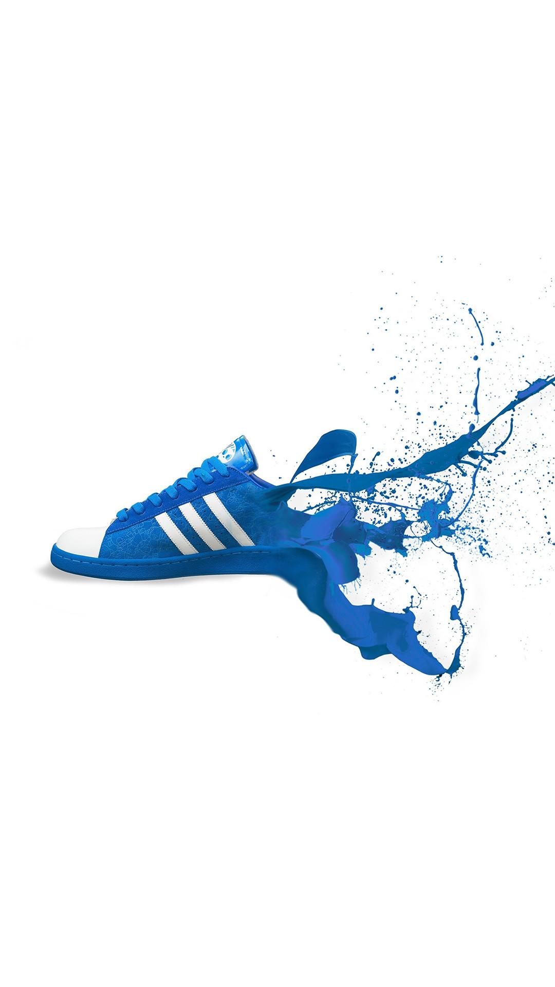 Adidas Blue Shoes Sneakers Logo Art #iPhone #6 #plus #wallpaper