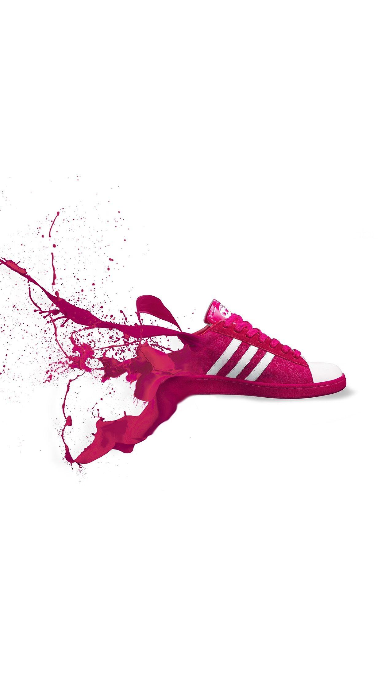 adidas red shoes sneakers logo art splash iphone 7 wallpaper