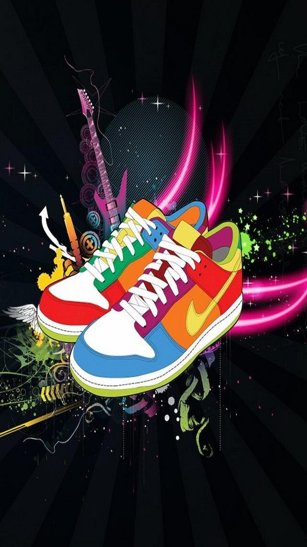 Art Multicolored Nike Shoes Black Cool Sneakers