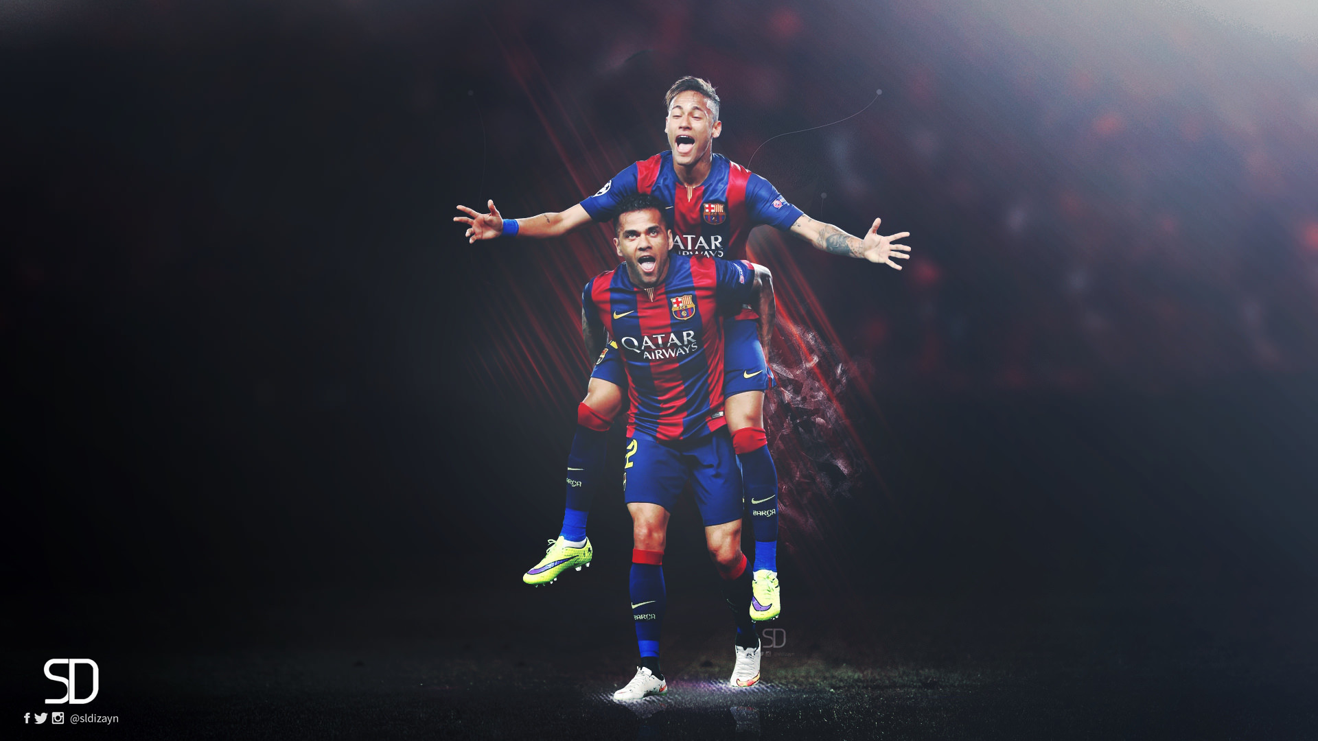 Dani Alves Neymar FC Barcelona Wallpaper