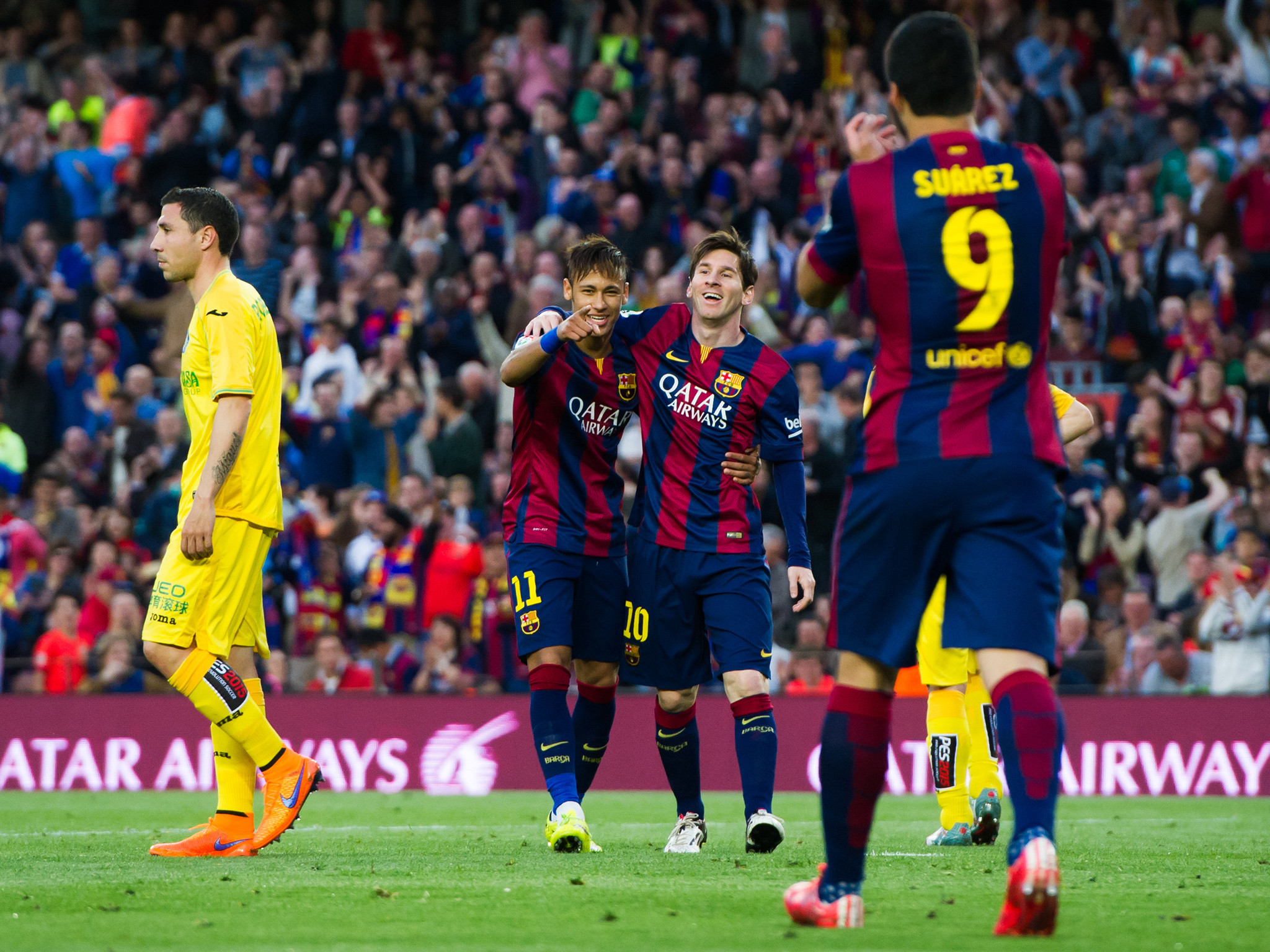 Lionel Messi, Neymar and Luis Suarez have now scored 102 goals between them  for Barcelona this season   The Independent