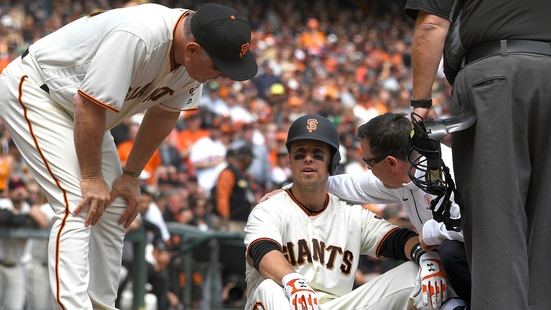 Giants place Buster Posey on DL after fastball to helmet | MLB | Sporting  News