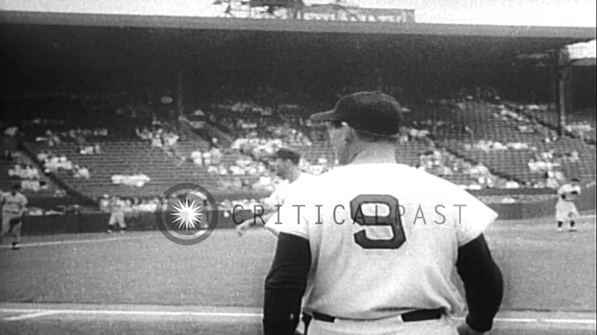 Mickey Mantle and Ted Williams compete for 1957 batting chanpionship, and  Milwauk…HD Stock Footage