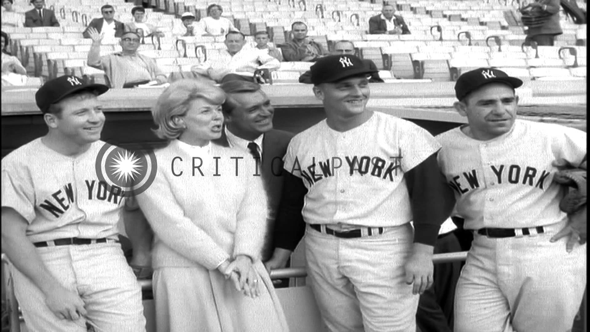 """Doris Day and Cary Grant with Baseball players to promote their film """"That  touch …HD Stock Footage"""