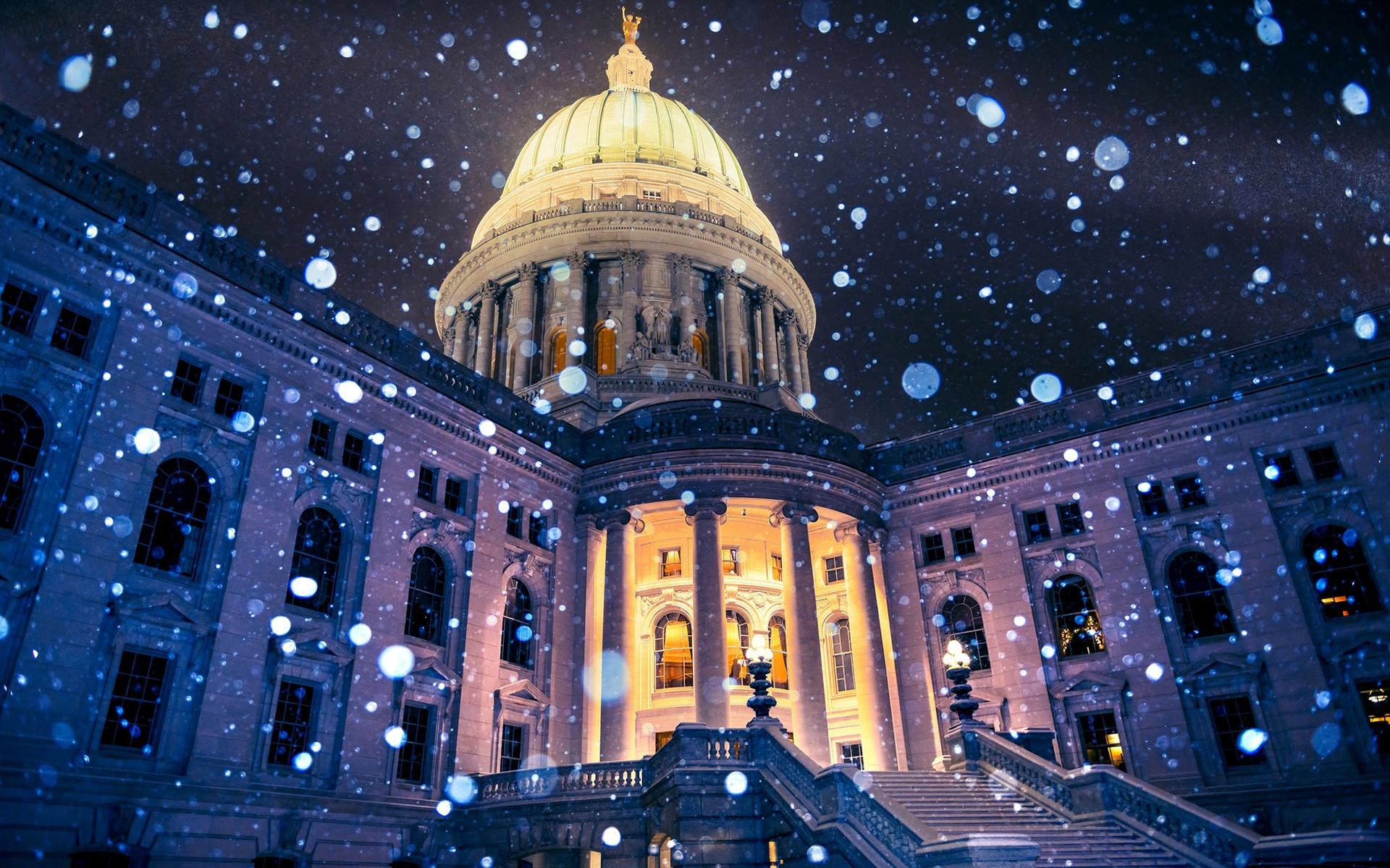 USA Madison Wisconsin Capitol Snowflakes HD Wallpaper