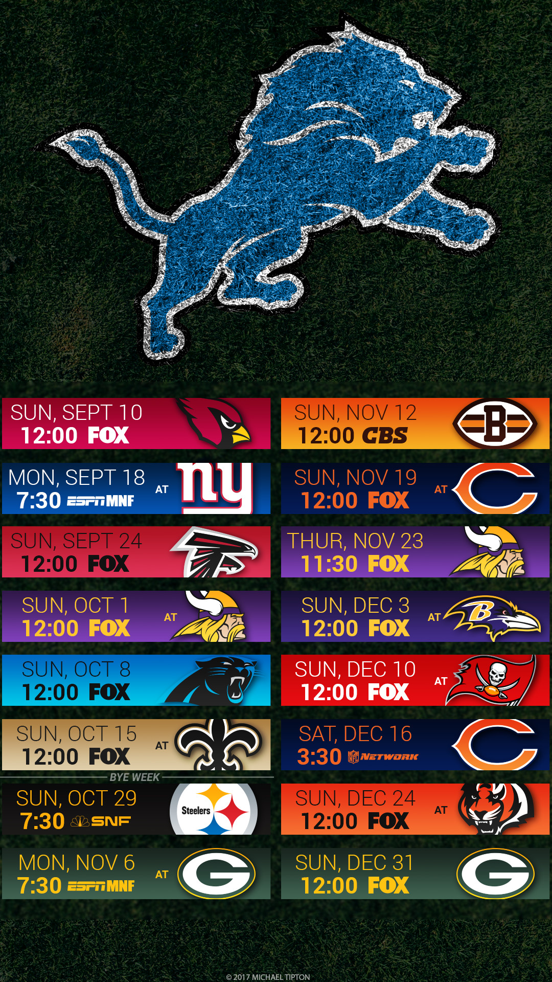 Detroit Lions 2017 schedule turf logo wallpaper free iphone 5, 6, 7, …