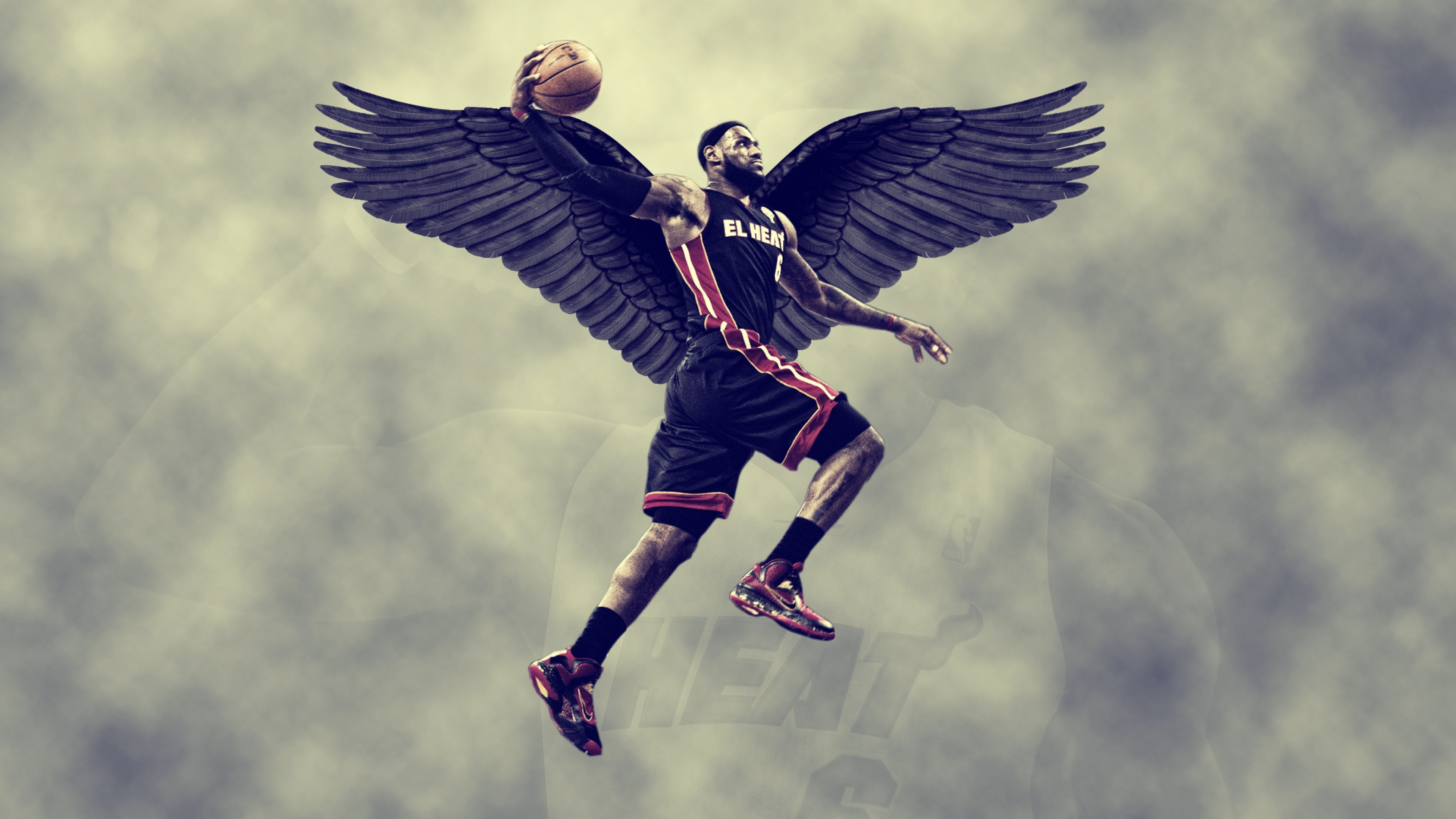 Preview wallpaper lebron james, miami heat, wings, sky, basketball 3840×2160