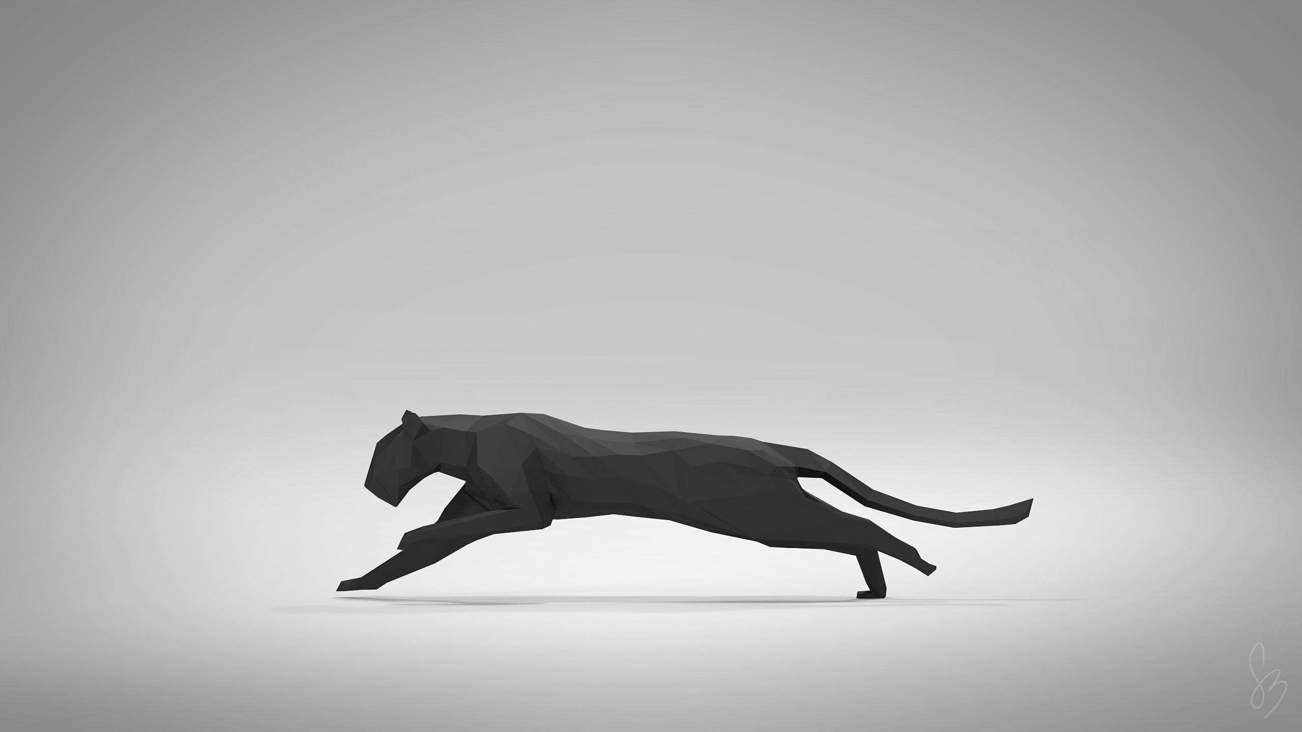 General animals digital art pumas minimalism simple background  running black vector artwork low poly gray