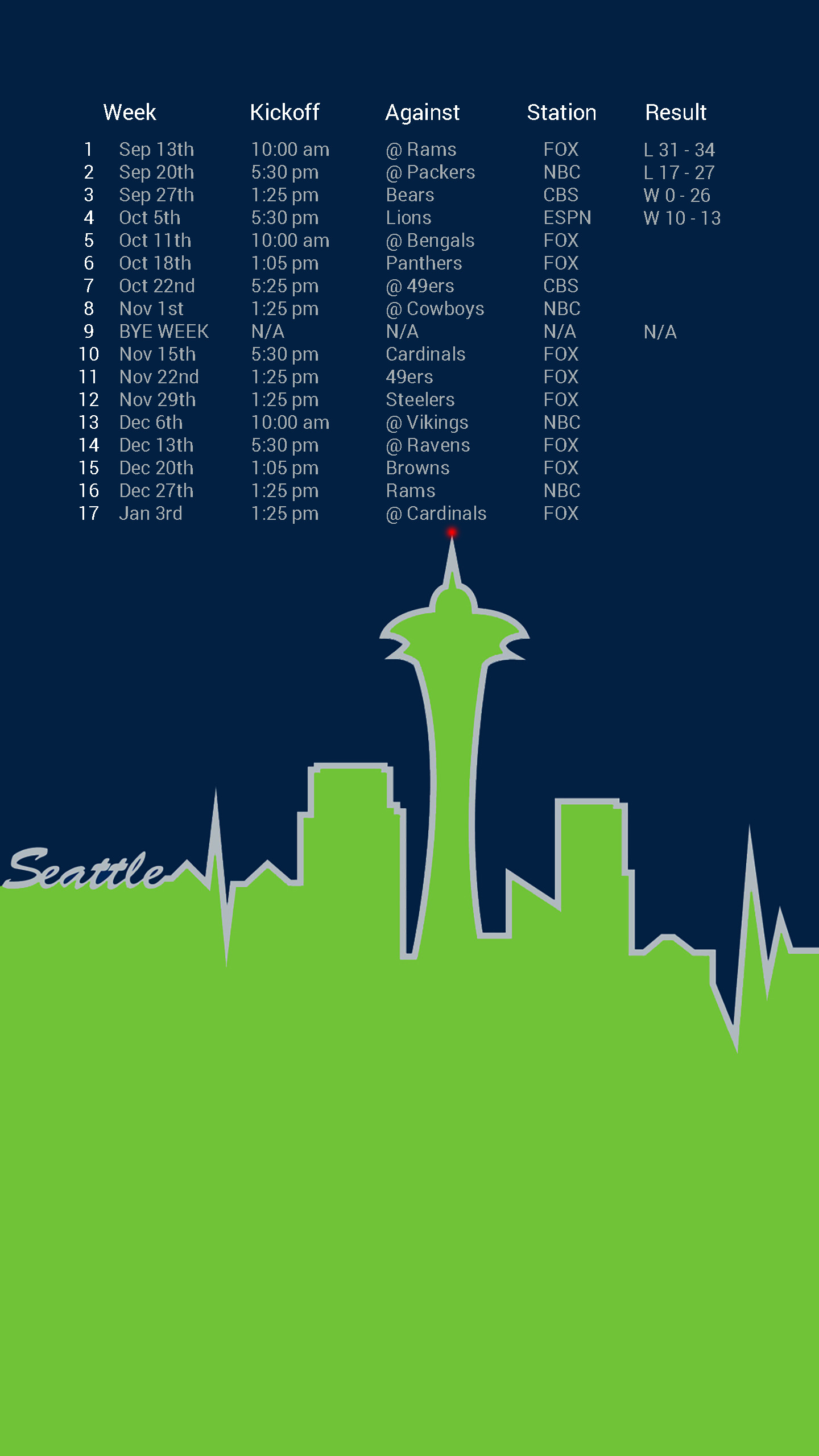 Seattle Schedule background (for Android devices) Bonus GIF/Live  Wallpaper in comments …