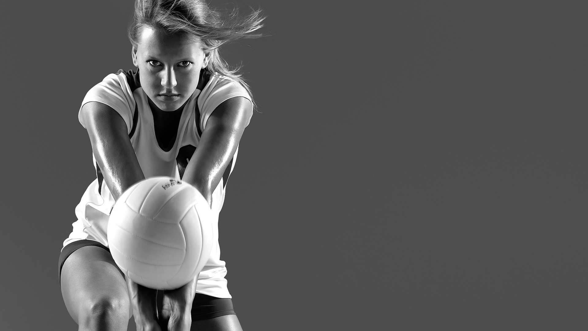B/W photos of woman's volleyball player