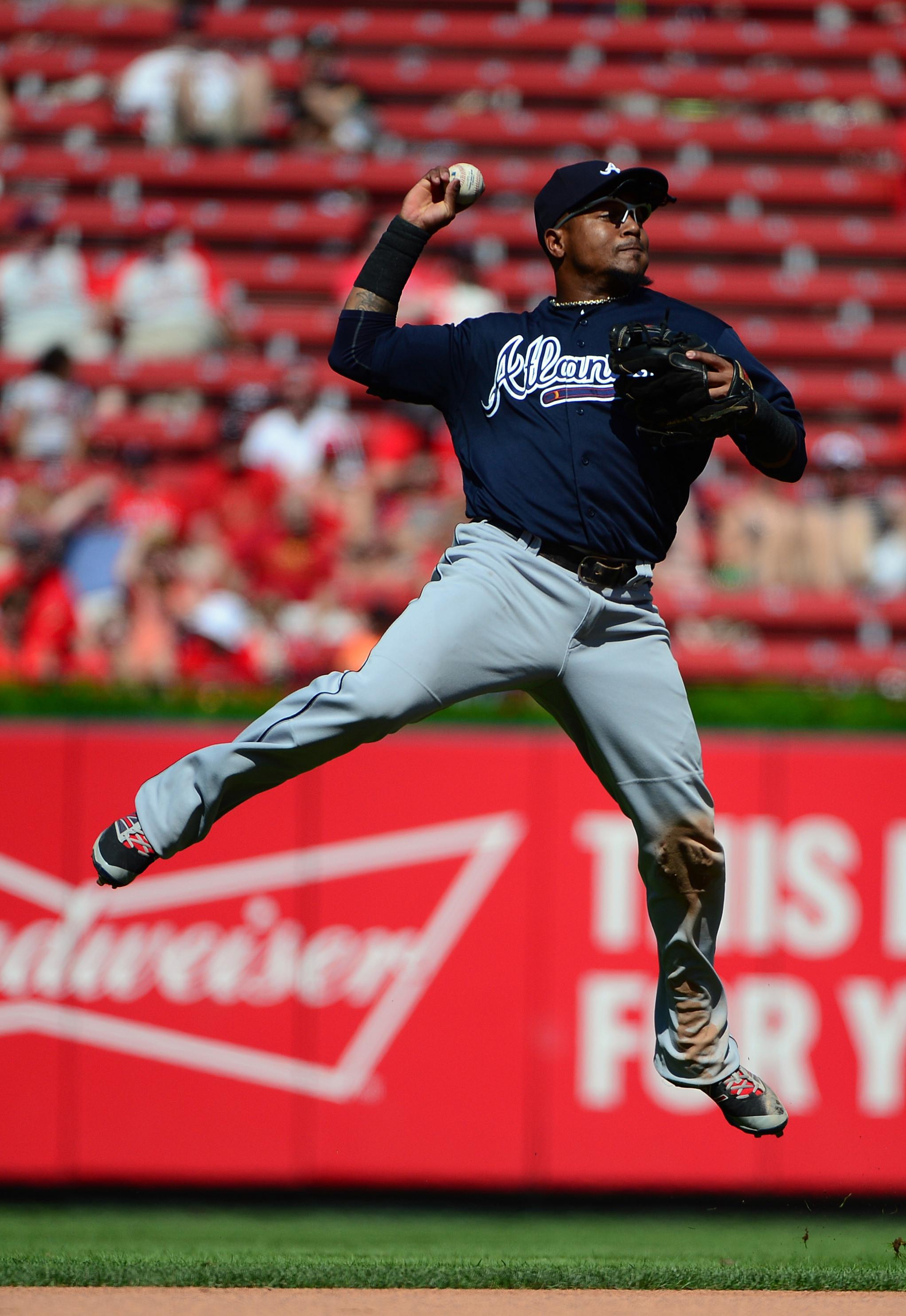 Aug 7, 2016; St. Louis, MO, USA; Atlanta Braves shortstop