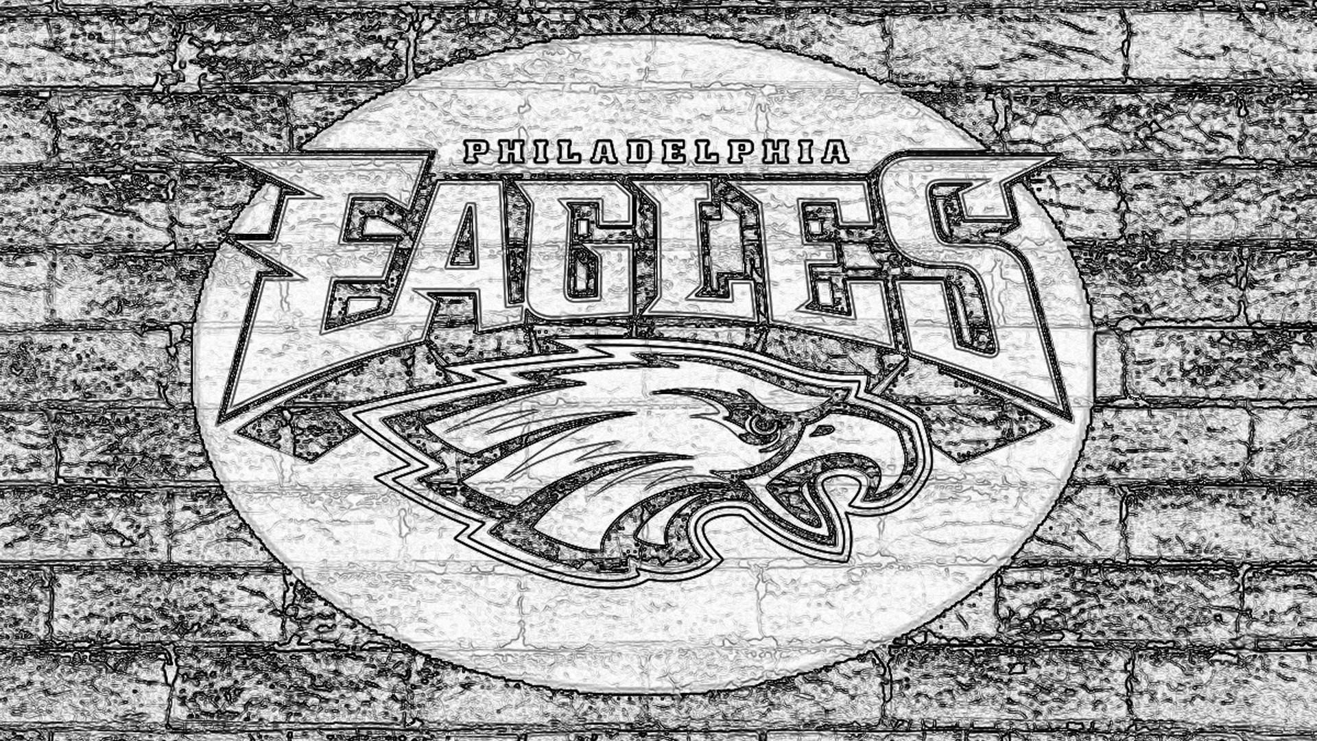 Philadelphia Eagles Sketch Logo On Grey Brick Wall HD NFL