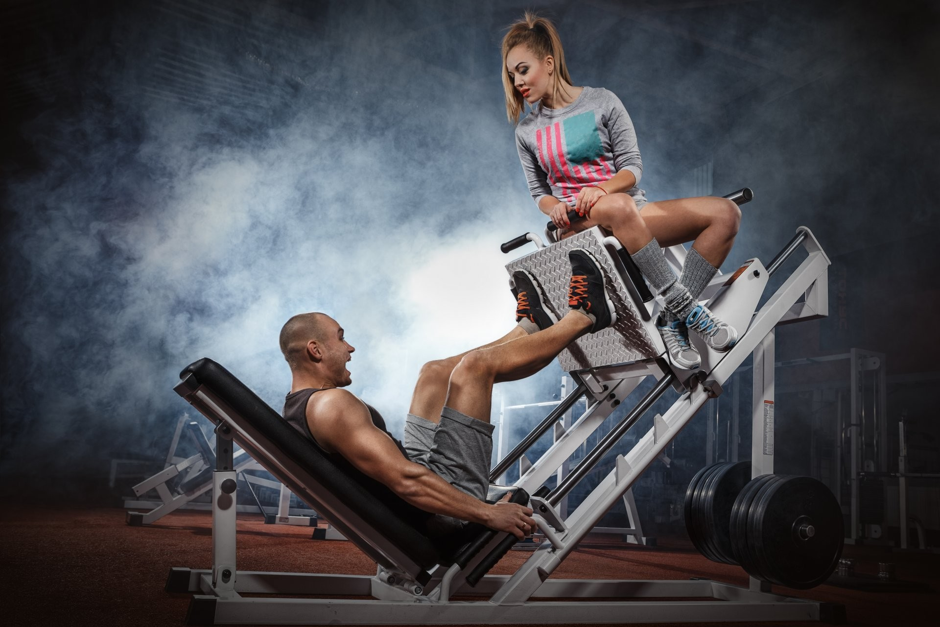 fitness workout couple legs training
