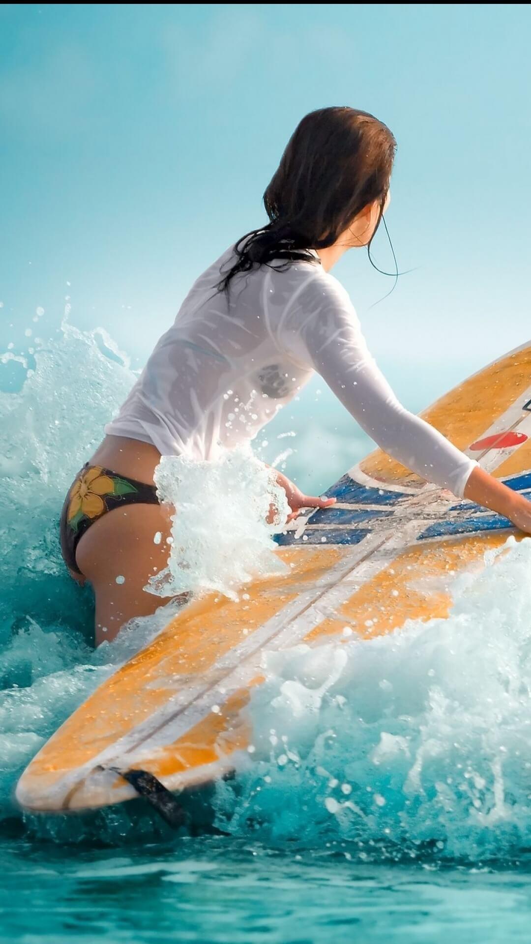Half Naked Surfer iPhone Wallpaper. Download