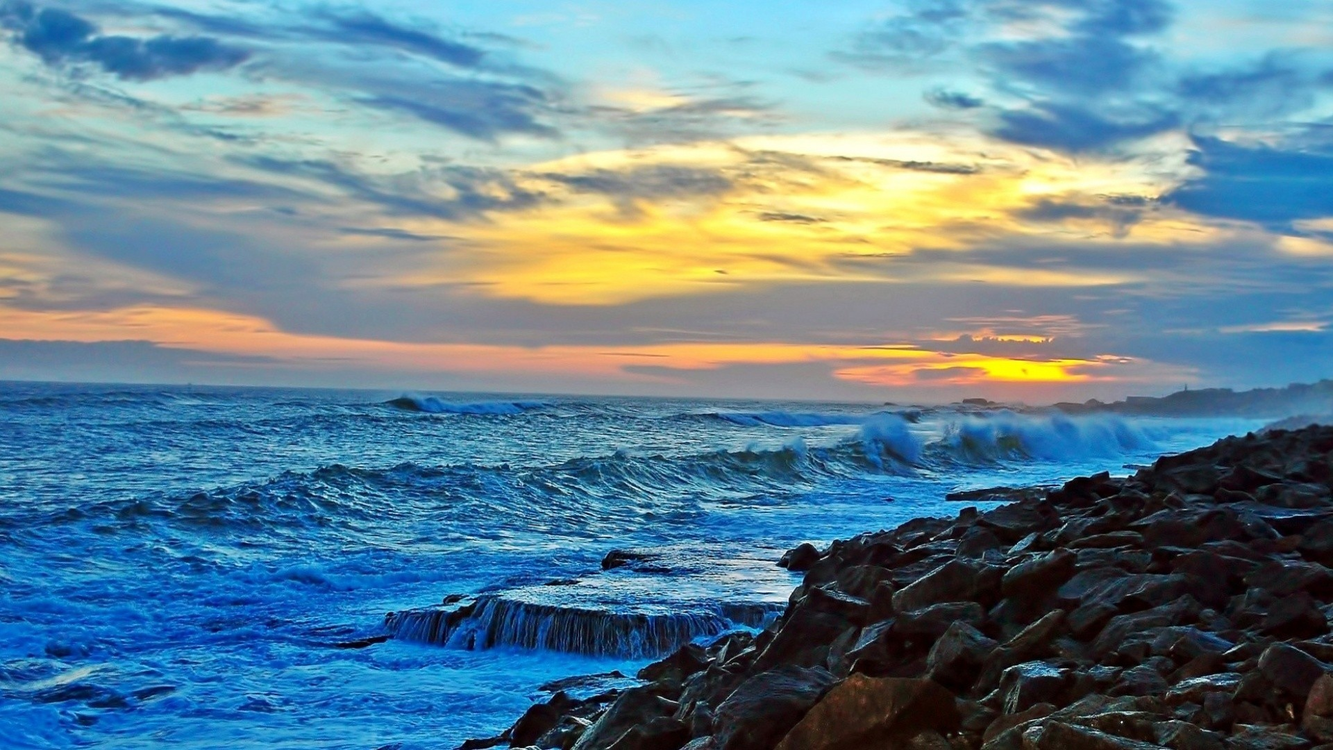 Beach Angry Sea Rocky Coast Sunset Clouds Waves Surf Rocks Nature Paradise  India Wallpaper Iphone 6