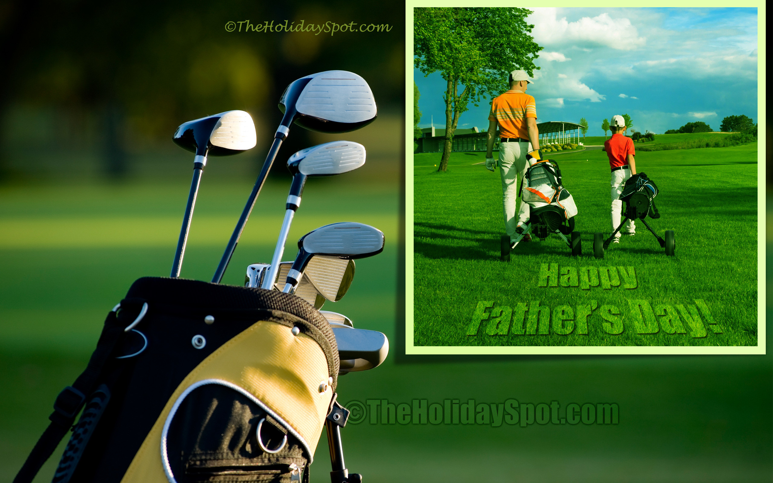 Happy Father's Day Wallpaper themed with Golf …