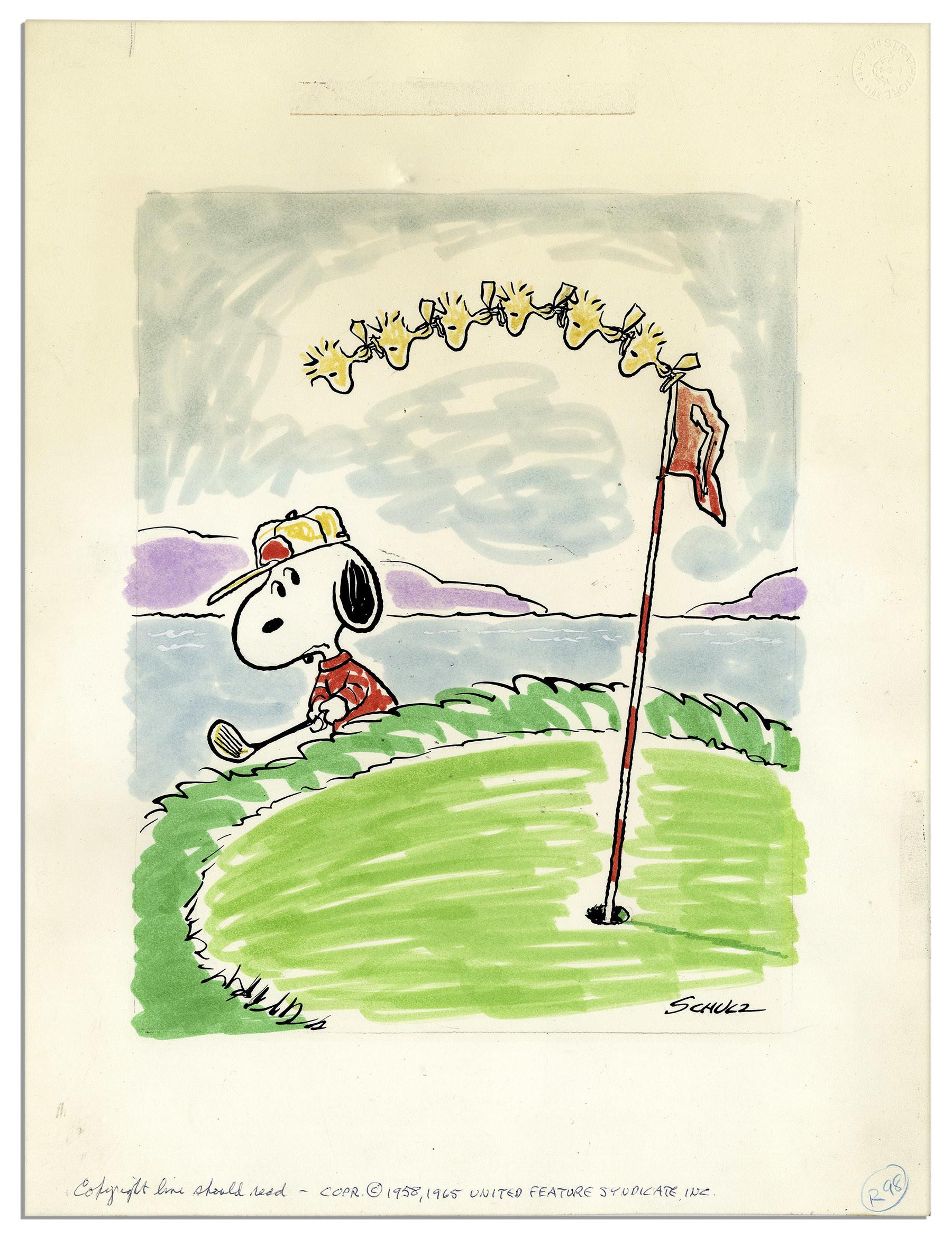 Charles Schulz ''Peanuts'' Golf Theme Color Original Artwork Starring  Snoopy & Woodstock